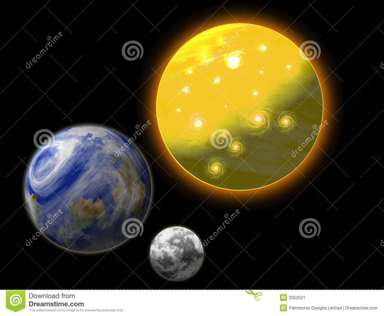 Sun earth and moon stock image image 3352521