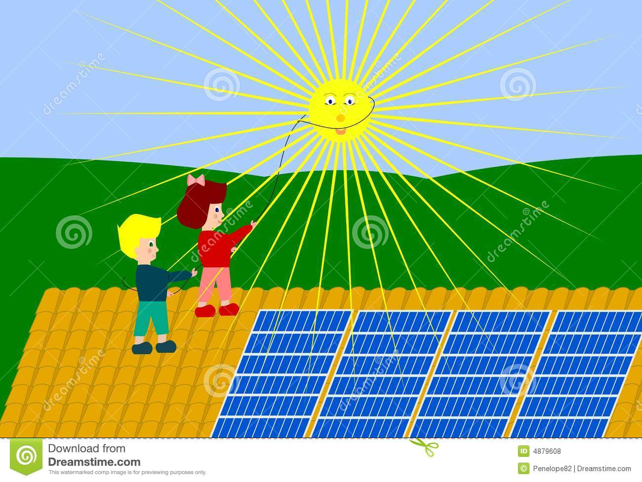 ... children hauling to the sun with a rope.Solar panels on the roofs