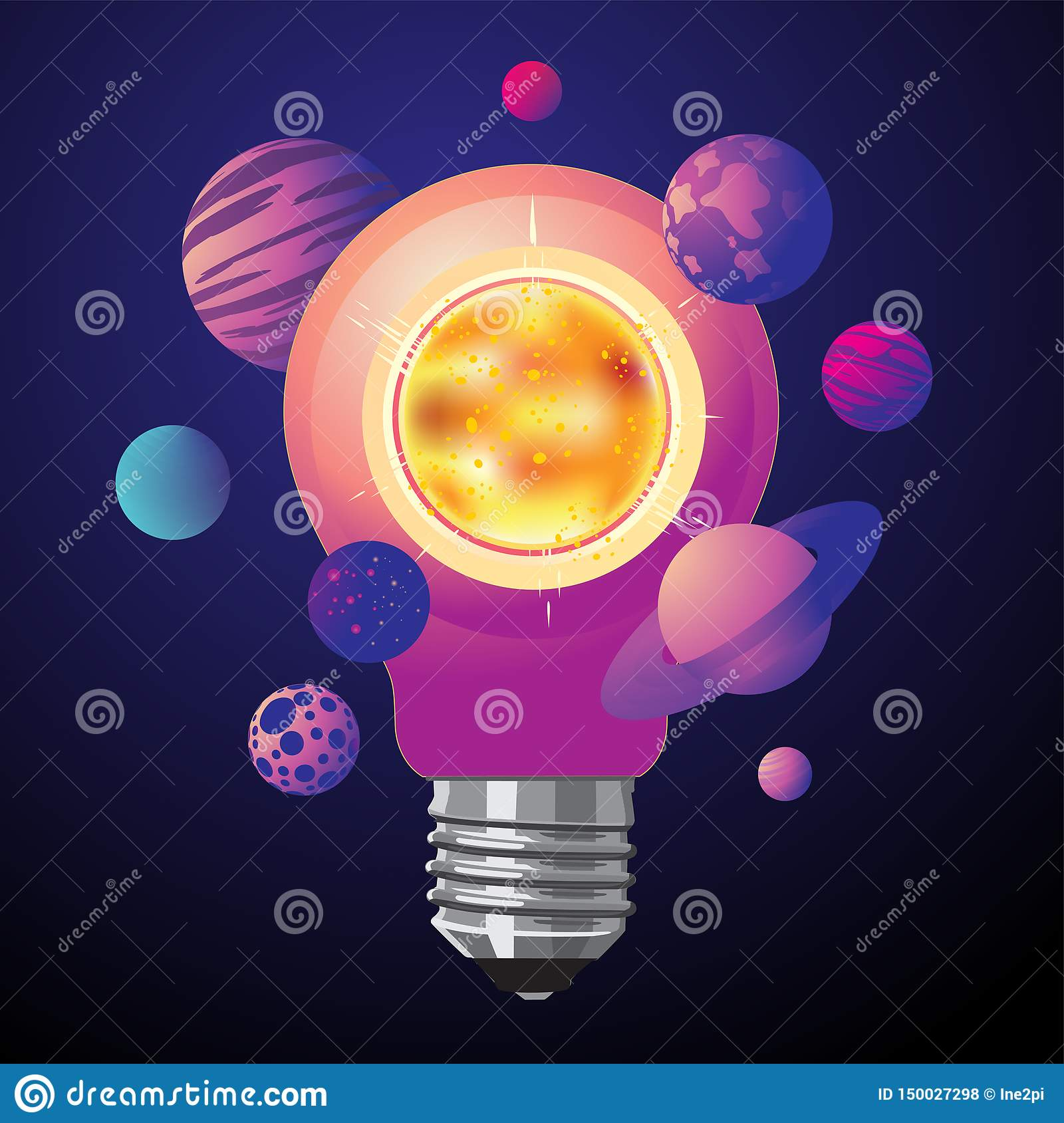 Sun energy concept. Ecology illustration with lamp bulb and solar system. Space background. Innovation idea image.
