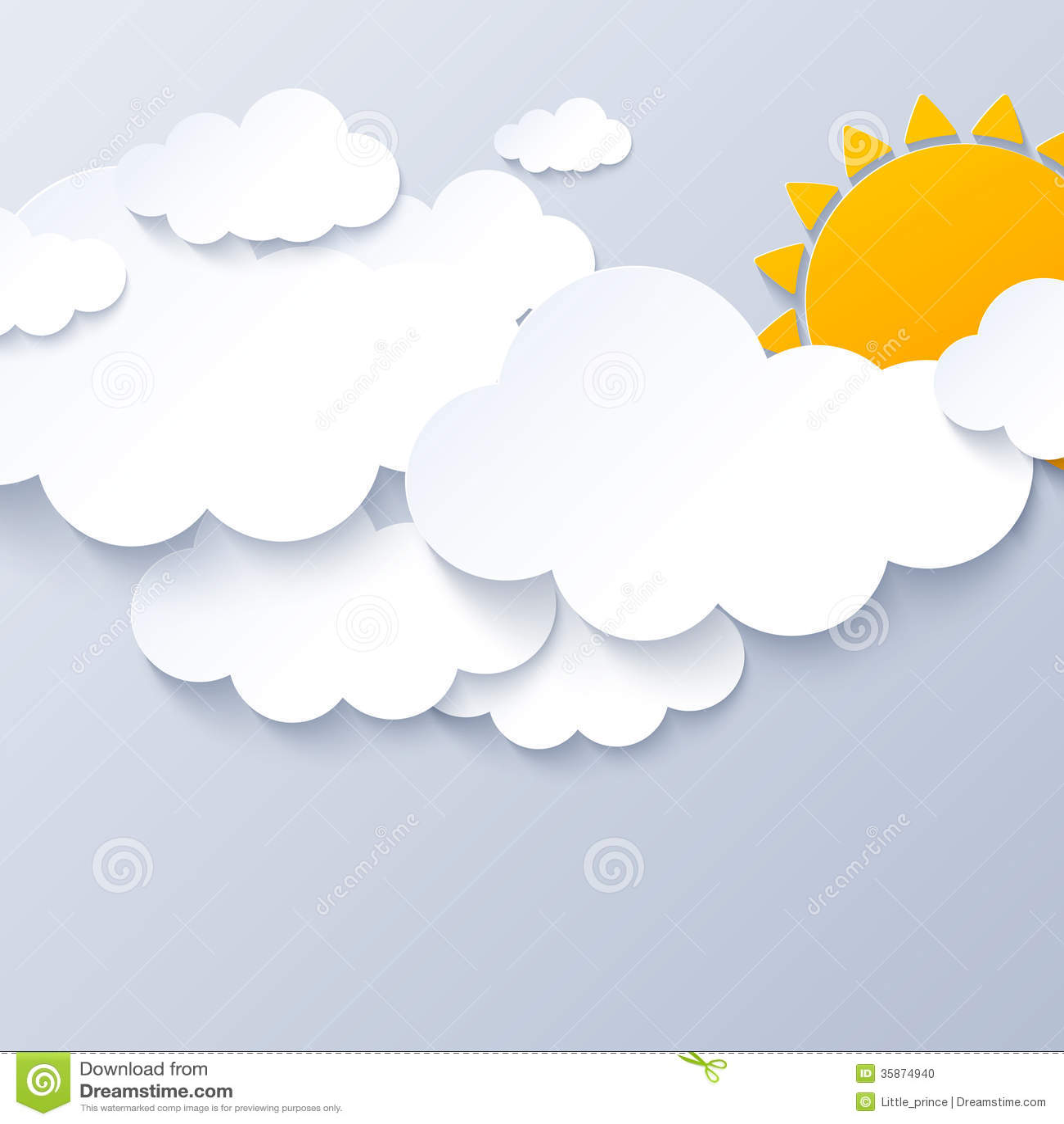 Sun et nuages sur le fond gris de ciel