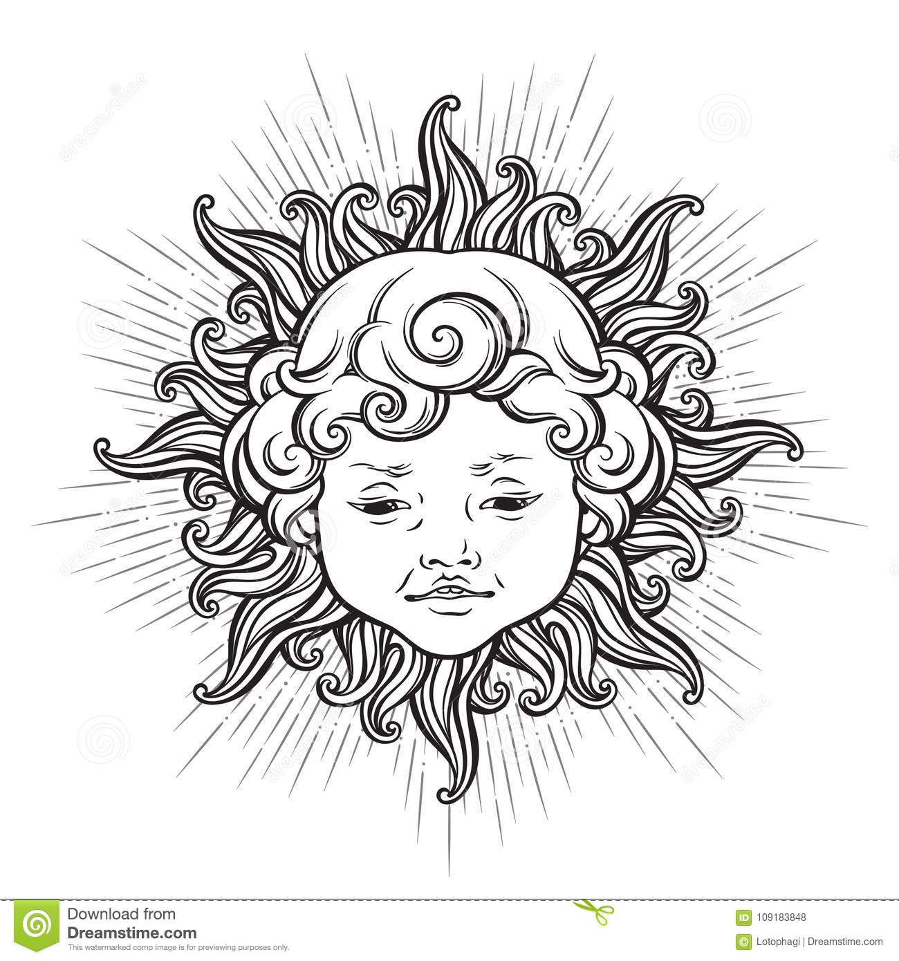 Sun With Face Of Cute Curly Smiling Baby Boy Isolated Hand Drawn Sticker Coloring Book Pages Print Or Boho Flash Tattoo Design Vector Illustration