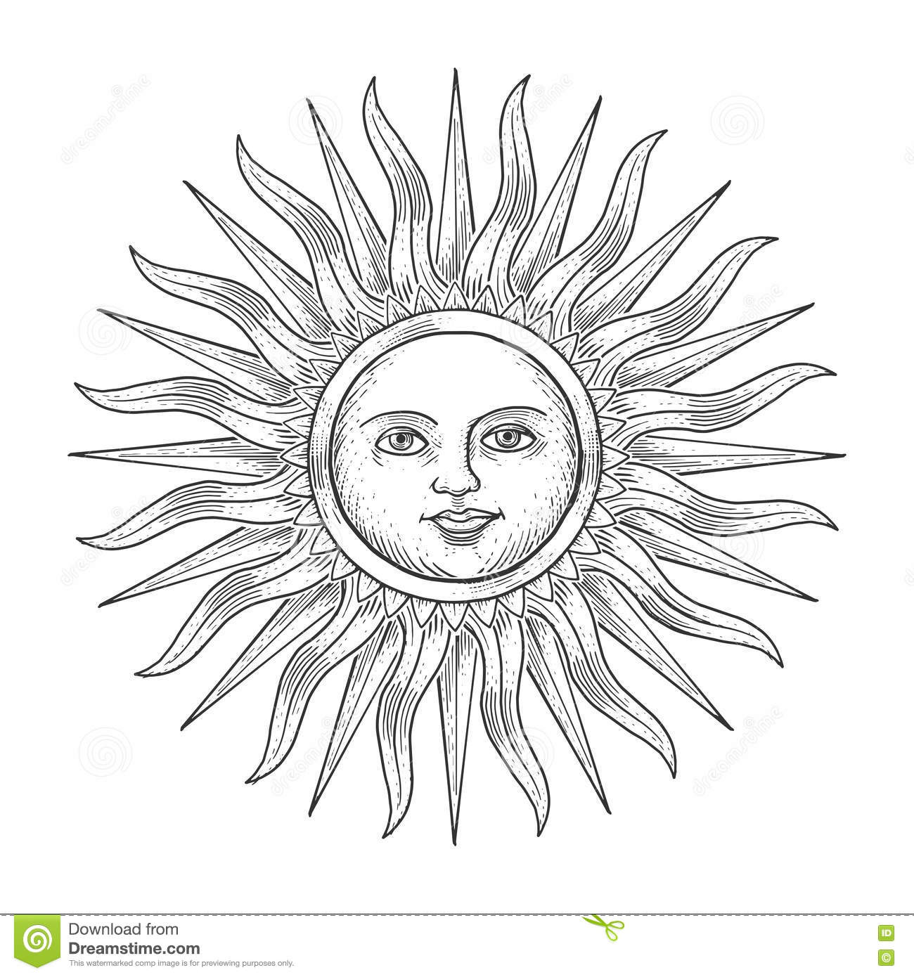 sun with face engraving style vector illustration stock