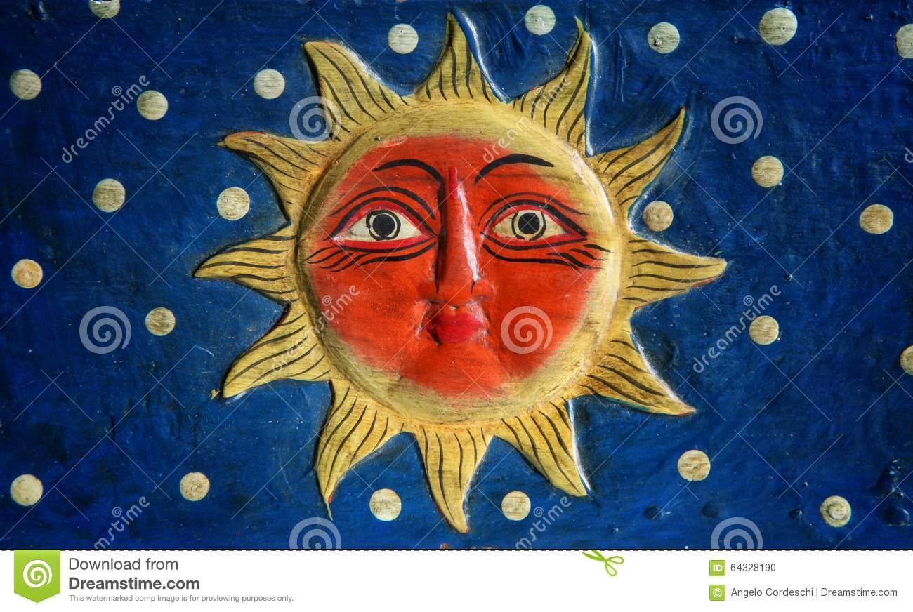 Sun with face stock illustration