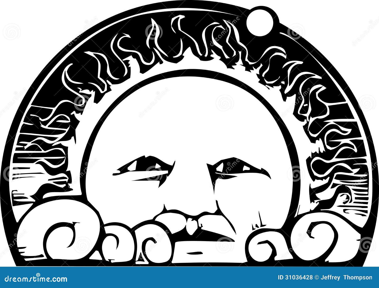 Line Art Of Sun : Sun face and planet orbit stock vector. illustration of woodcut