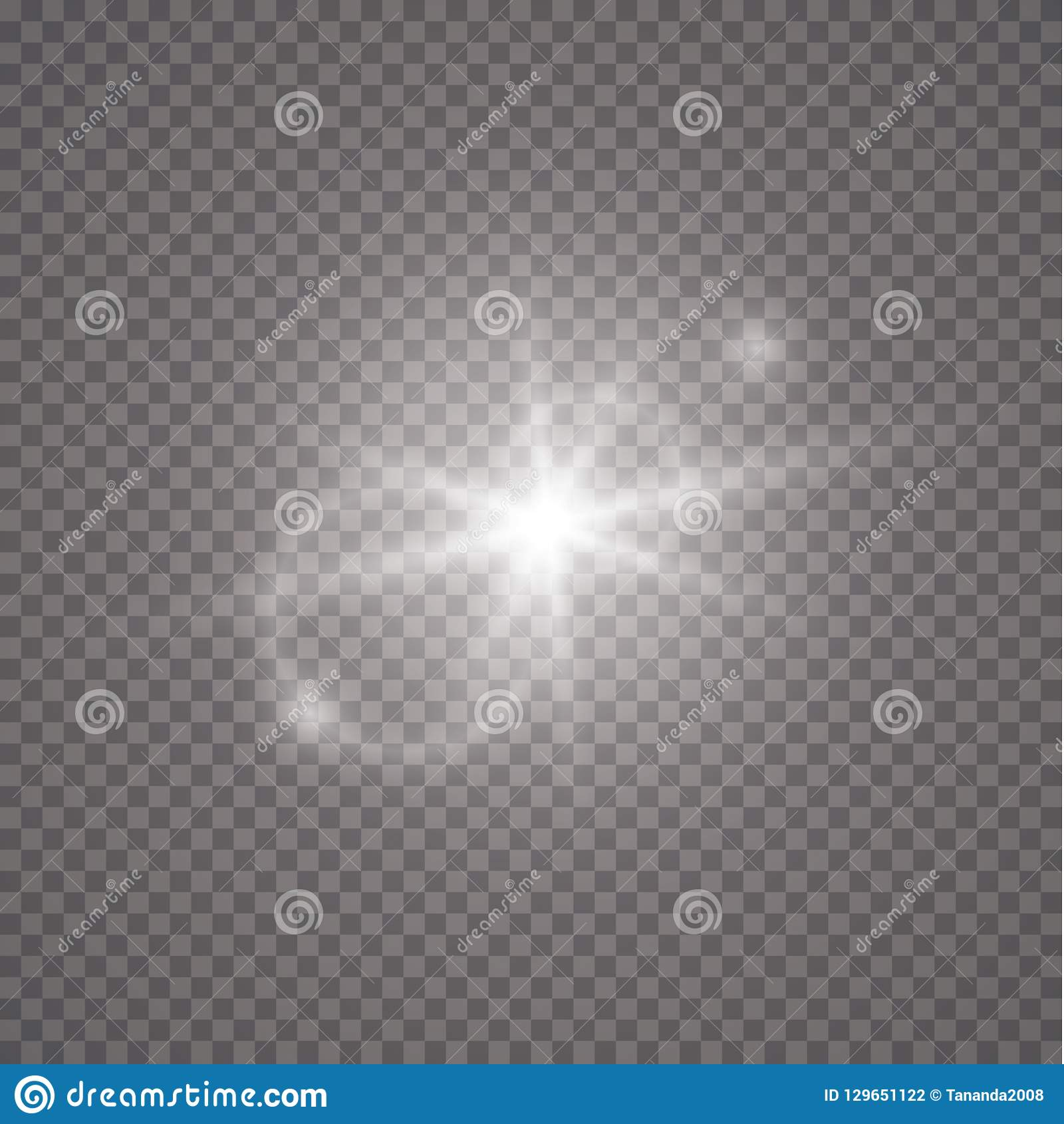 Sun flash with rays and spotlight. Vector transparent sunlight special lens flare light effect.