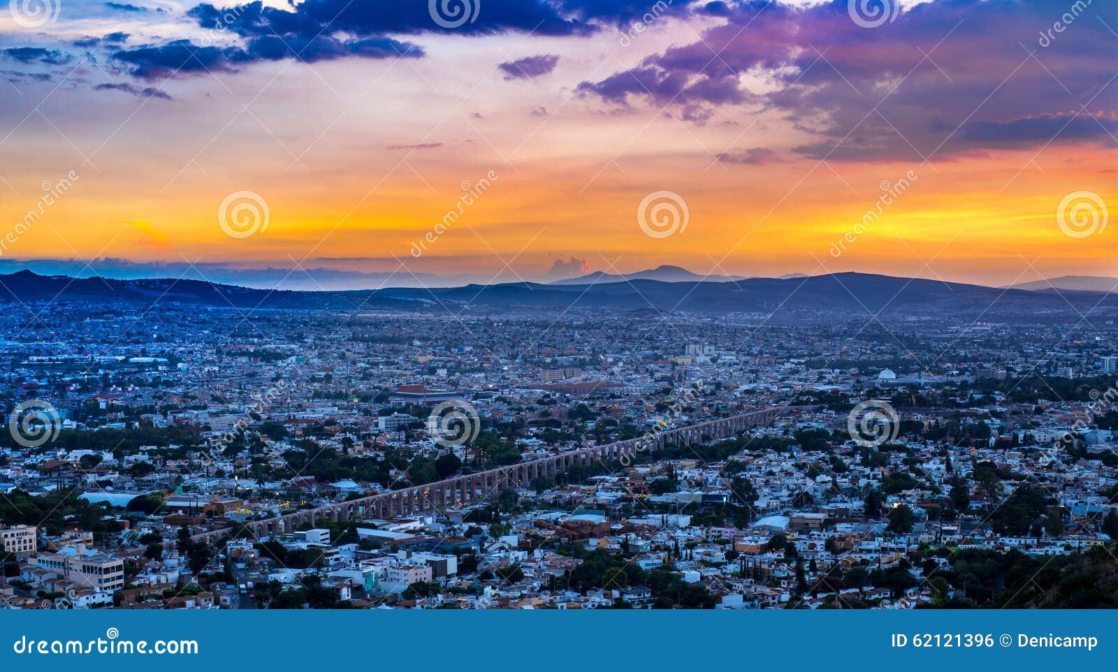 Sun going down over the city of Queretaro Mexico.