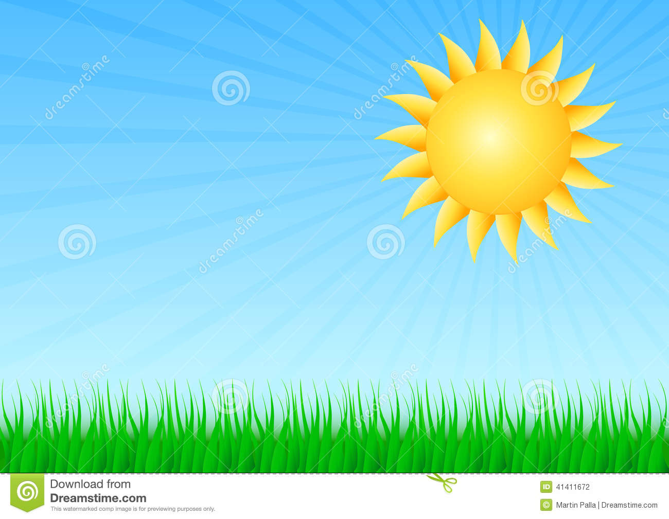 Sun with grass stock illustration. Illustration of natural ...