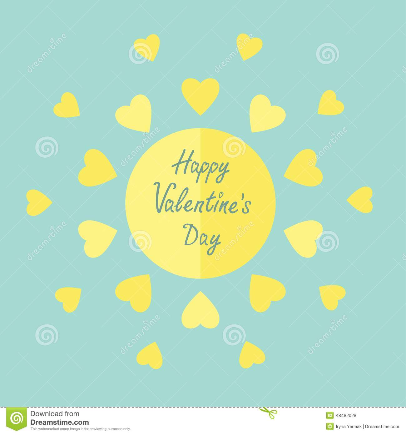 5516917a1a7 Sun with hearts in flat design style. Happy Valentines day card Blue  background.