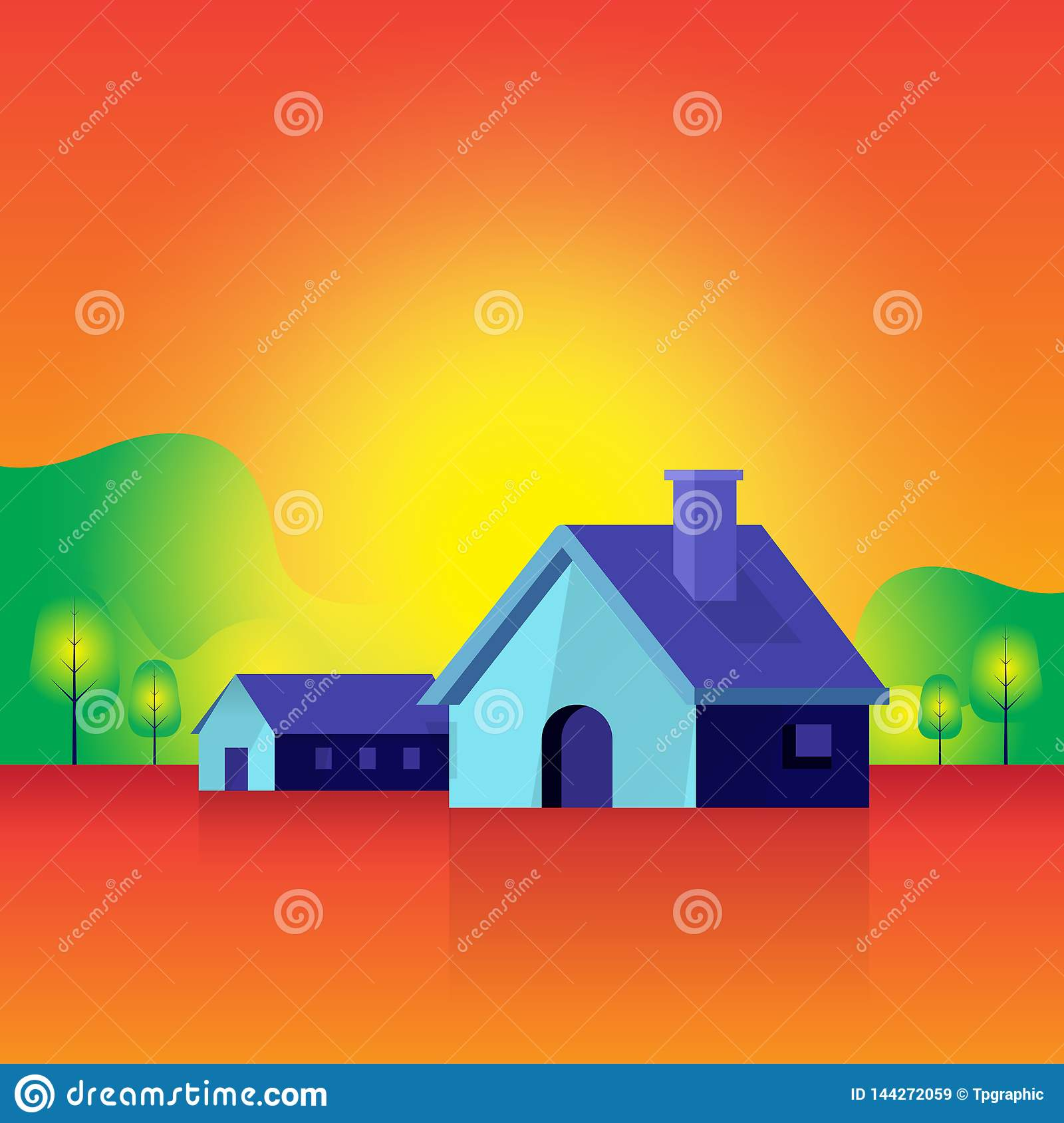 Houses and landscape. home nature atmosphere. tree. sun. background