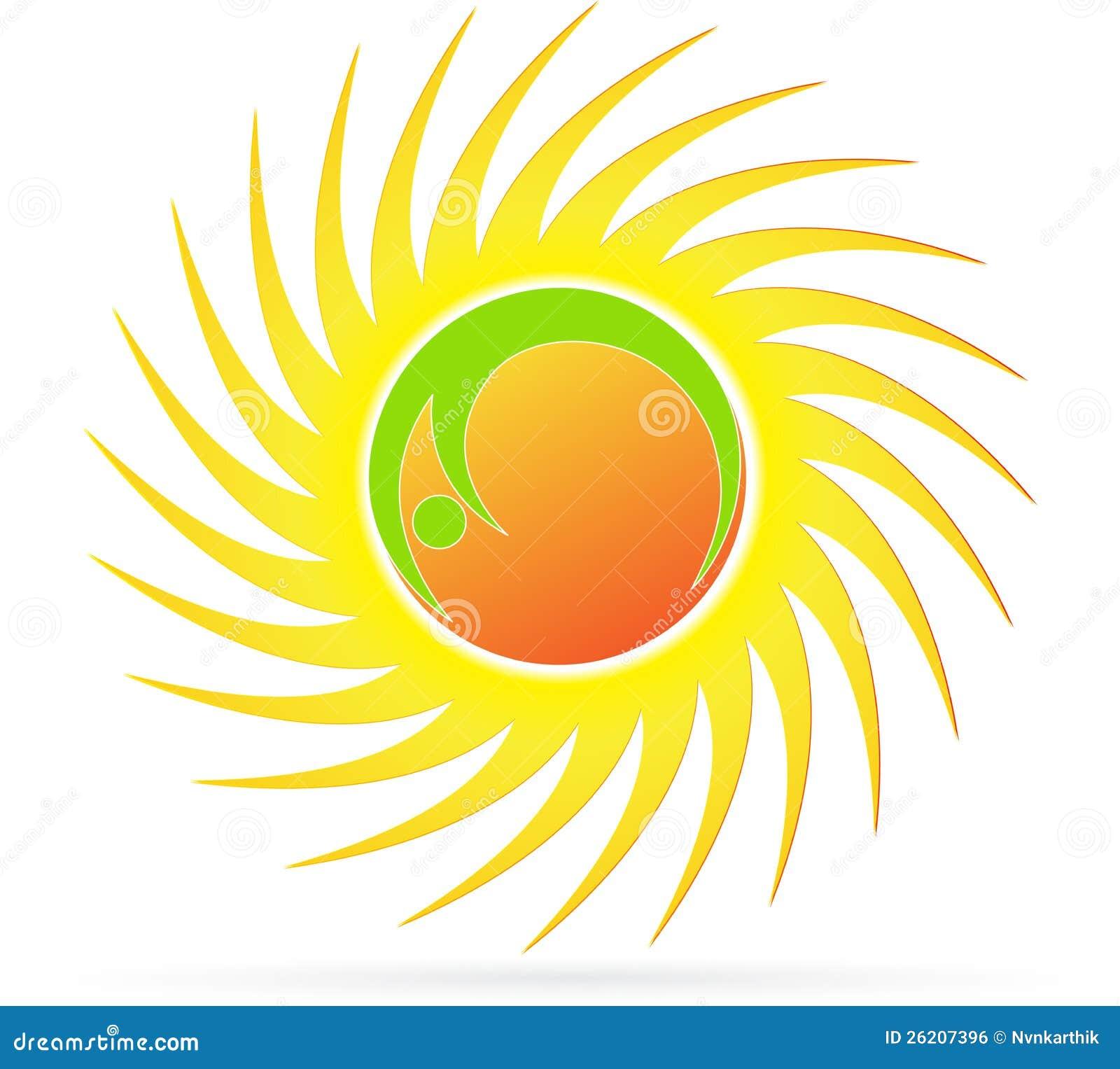 Illustration of sun logo design on white background.