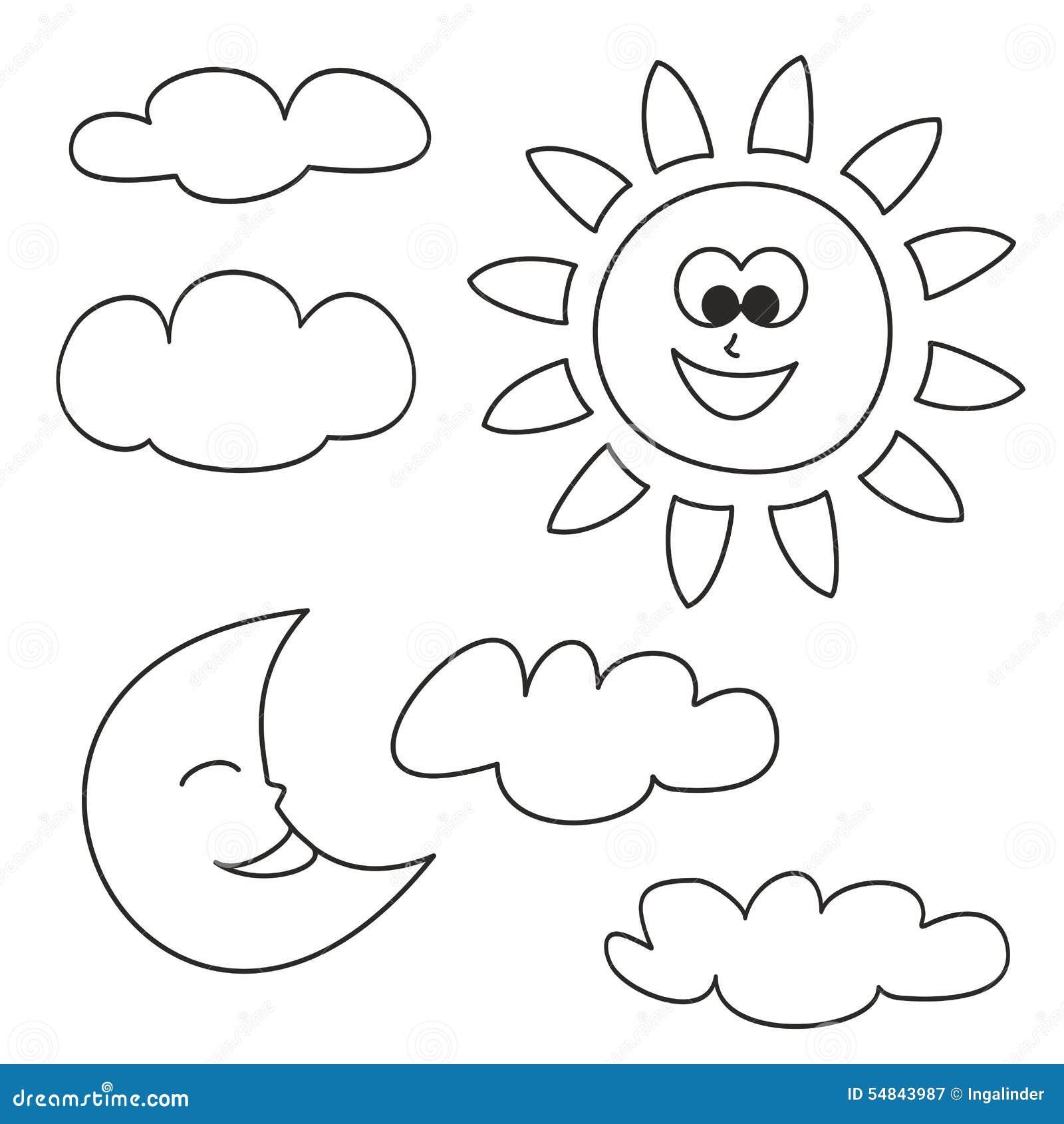 sun  a lua e as nuvens vector os  u00edcones isolados no fundo branco ilustra u00e7 u00e3o do vetor