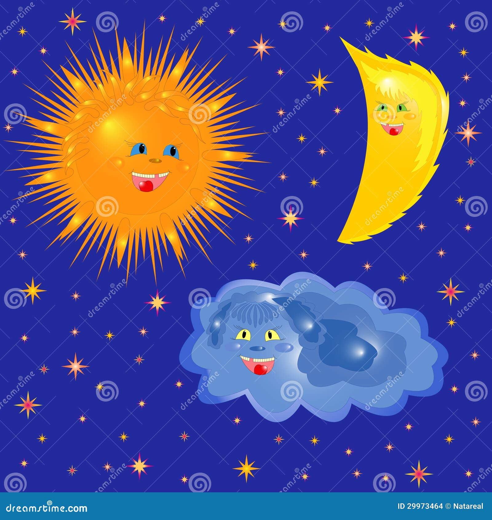 Sun luna y nube en el cielo estrellado ilustraci n del for La camera del cielo