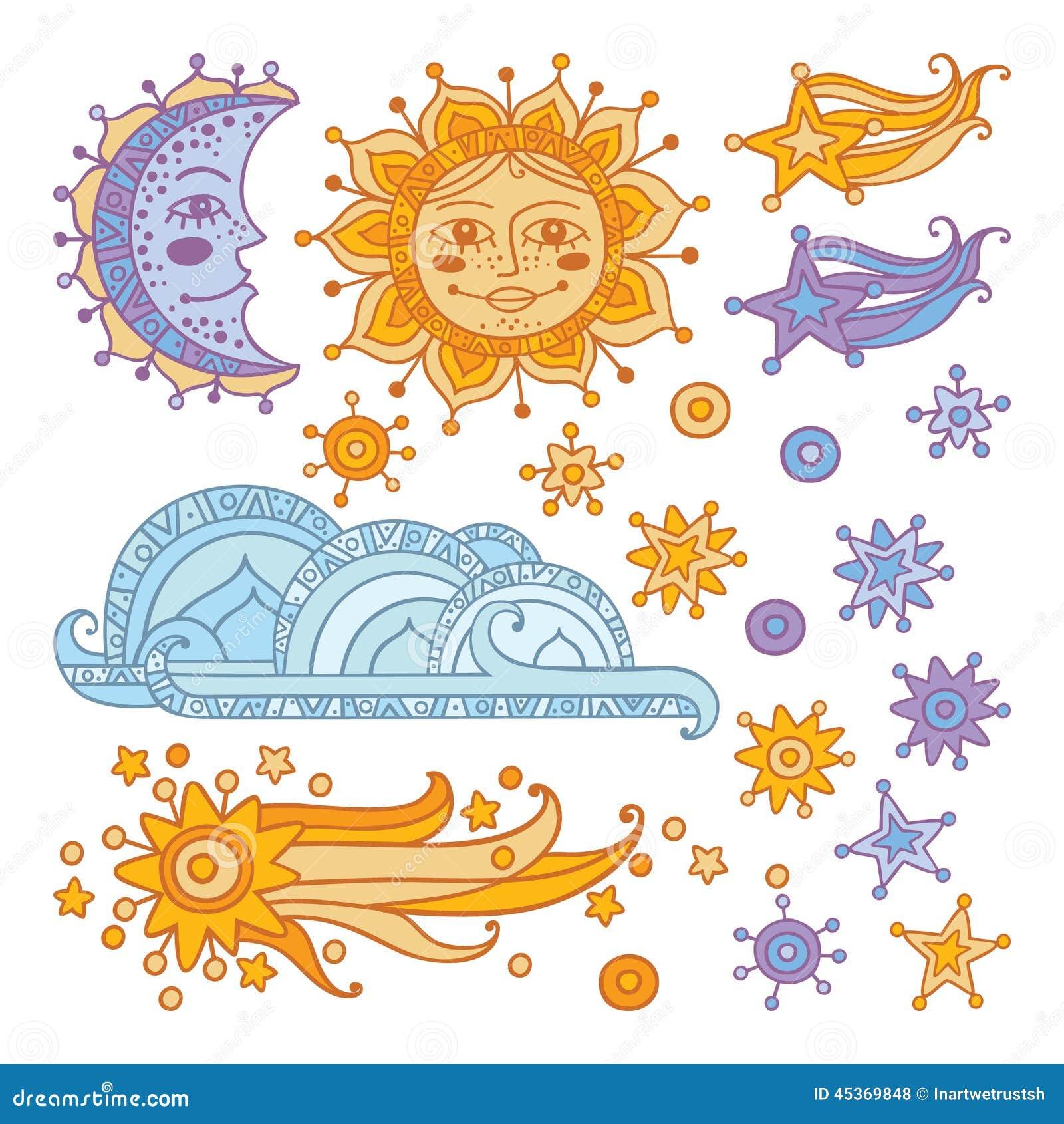 Sun, lune, nuage, étoiles et une comète d isolement sur le fond blanc