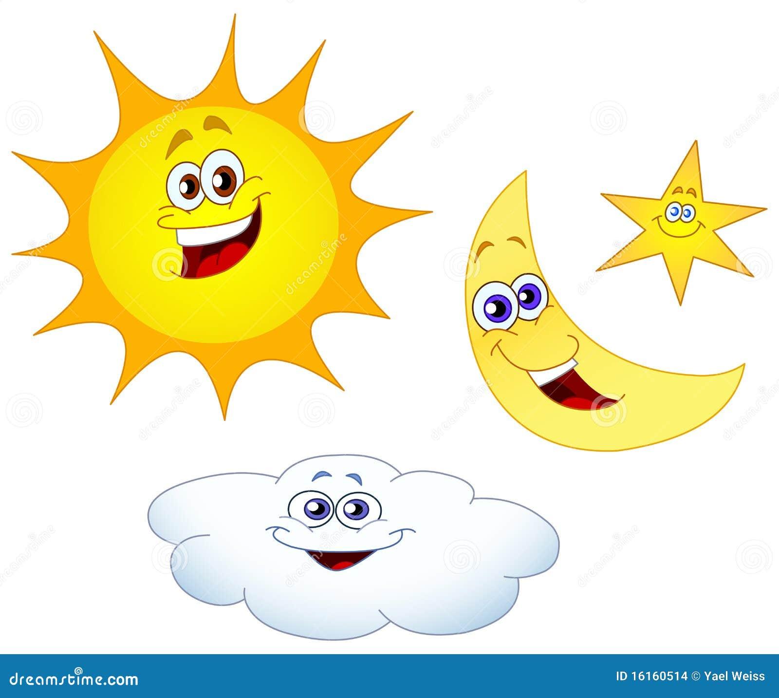 Sun-Mondstern und -wolke