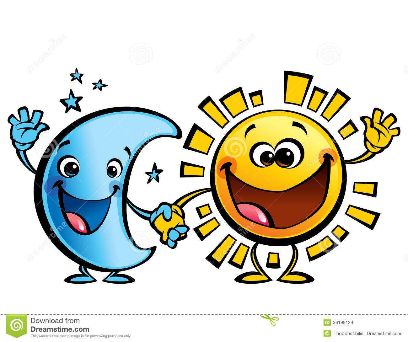 Sun And Moon Best Friends Baby Cartoon Characters Stock Images - Image ...