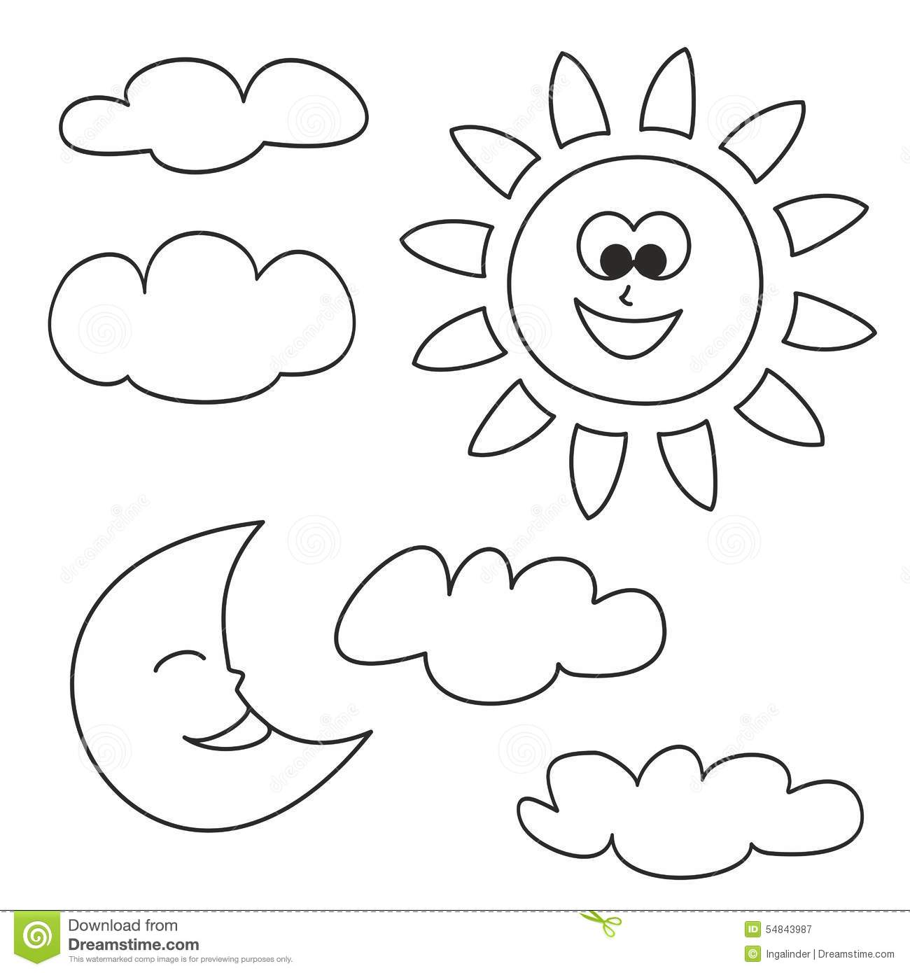 Stock Illustration Sun Moon Clouds Vector Icons Isolated White Background Weather Cartoon Illustrations Kids Coloring Book Image54843987 on forest house plans