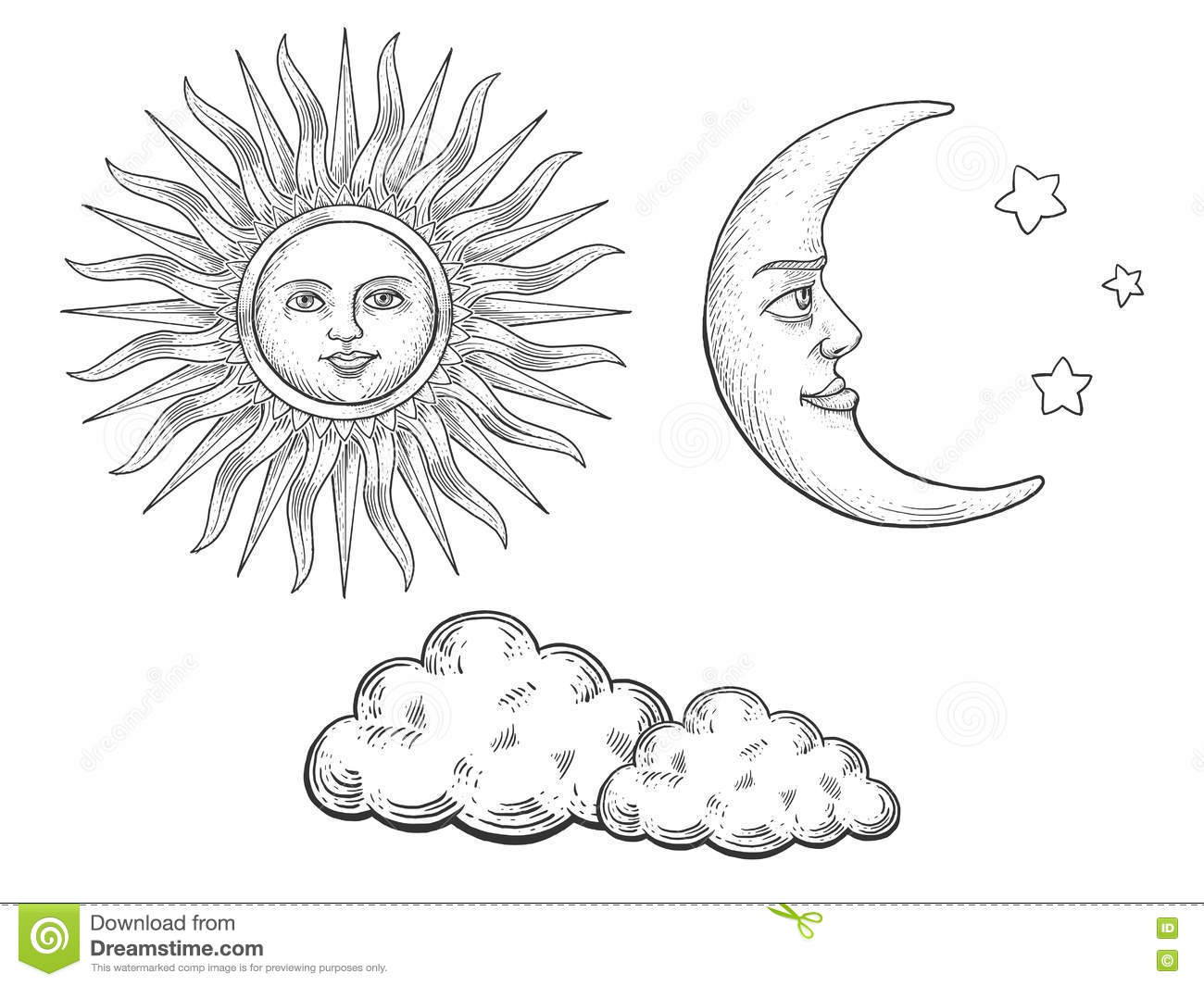 Line Drawing Sun Vector : Sun moon with face and clouds engraving vector stock