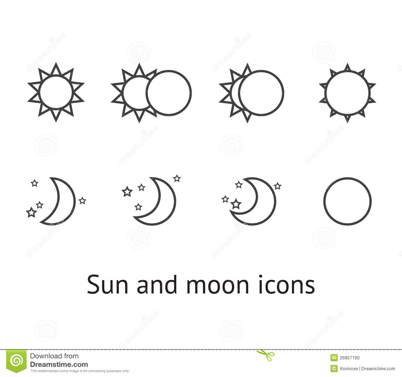 Sun and moon icons stock vector. Image of crescent ...