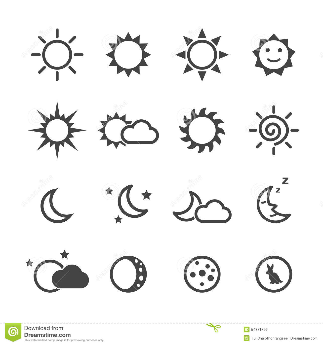 Tattoo Stencils Printable Moon: Sun And Moon Icons Stock Vector