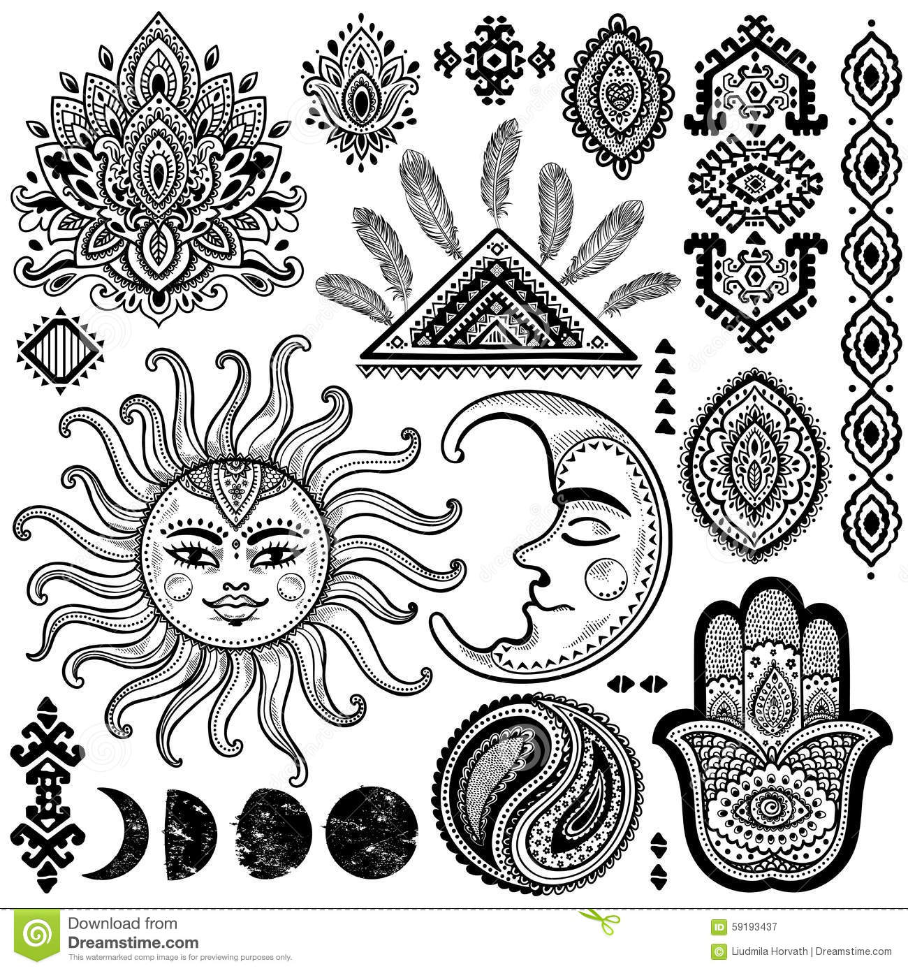 Sun Moon And Ornaments Vintage Vector Set Stock Vector