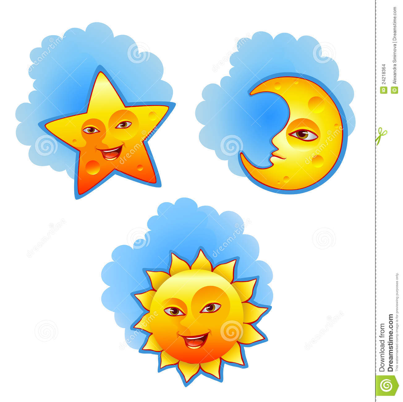 sun moon and star stock vector illustration of icon 24218364