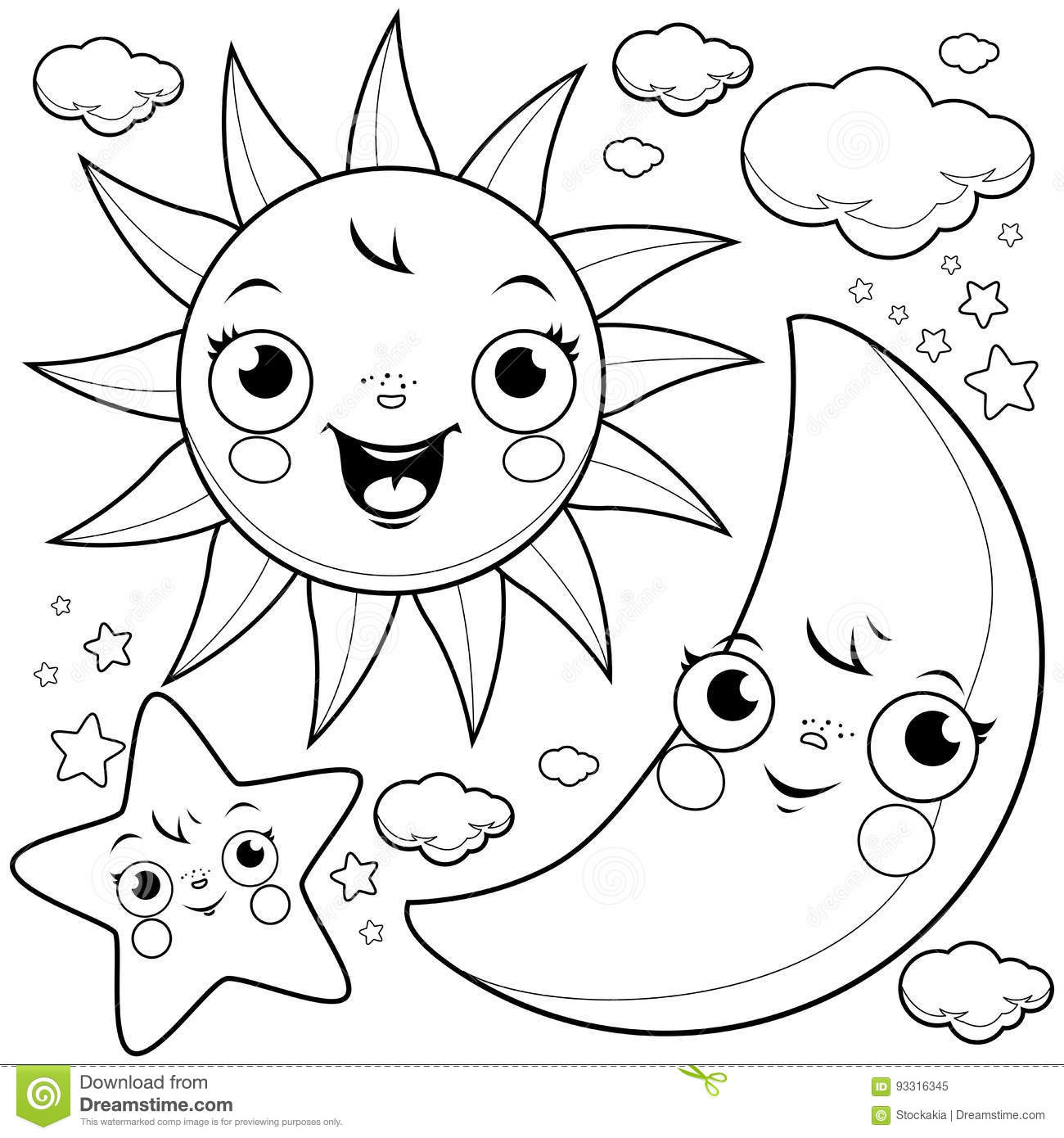 Earth and Moon coloring page | Free Printable Coloring Pages | 1390x1300