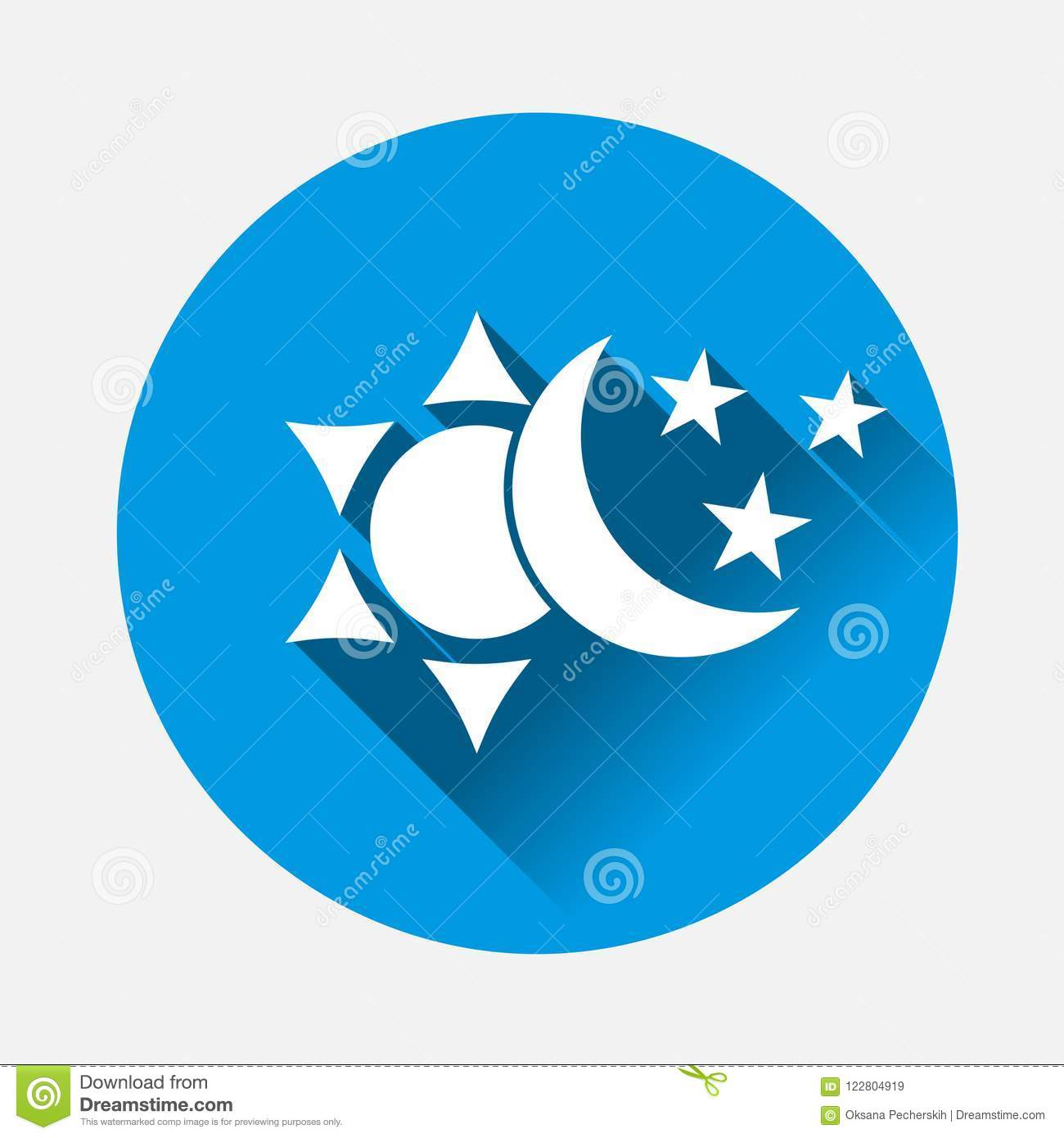 Sun And Moon With Stars Icon The Symbol Of The Change Of Stock