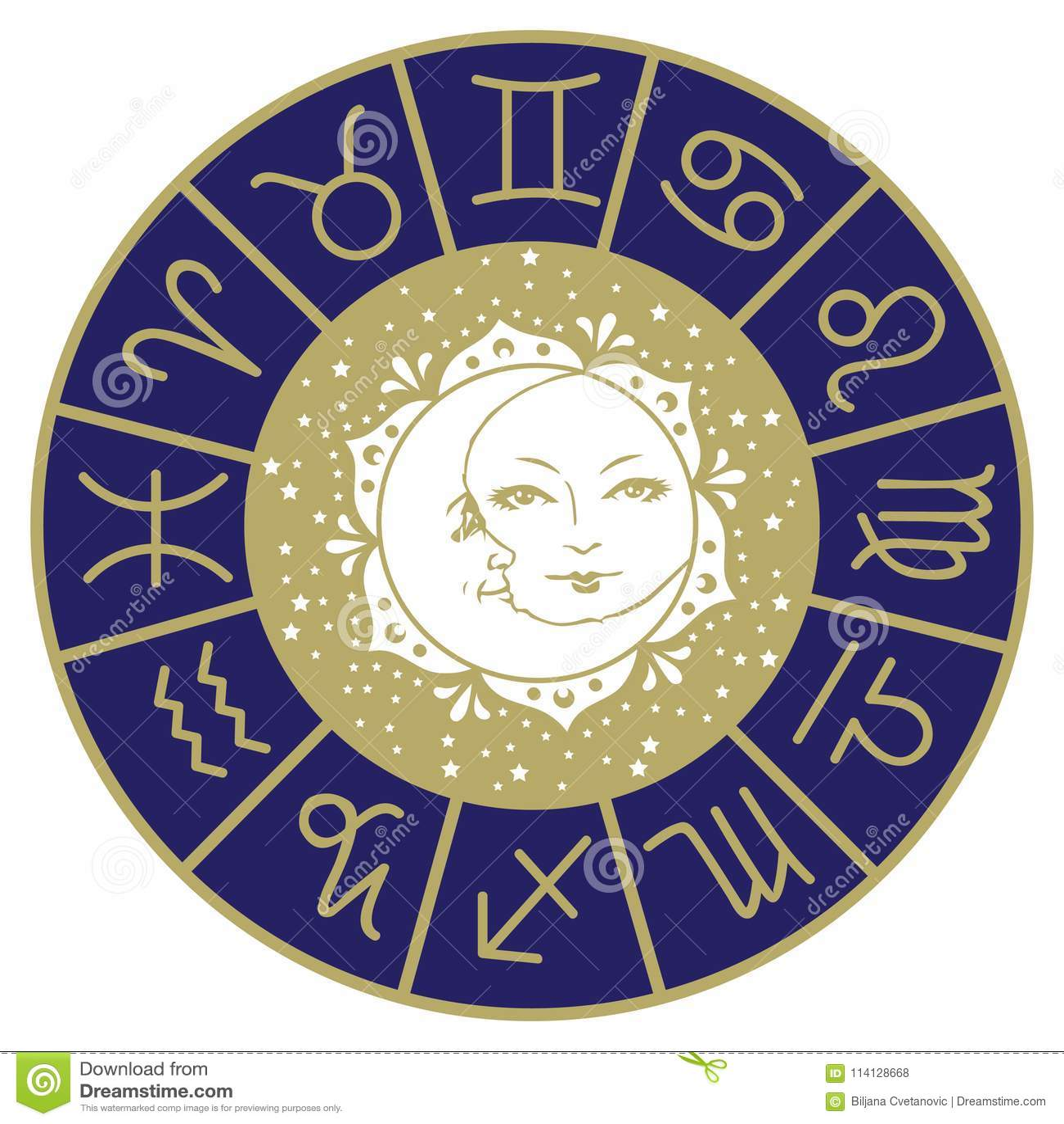 Sun Moon And Stars Mandala Horoscope Stock Illustration