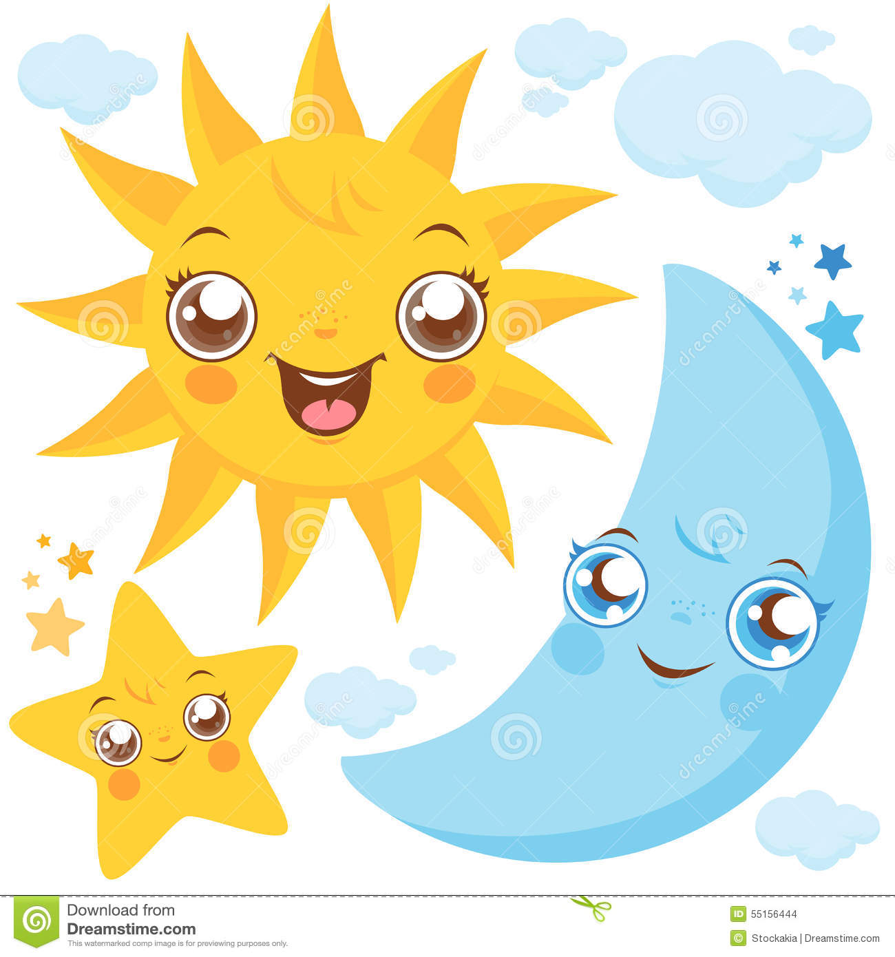 Worksheets Sun Moon And Stars sun moon and stars stock vector image 55156444 stars