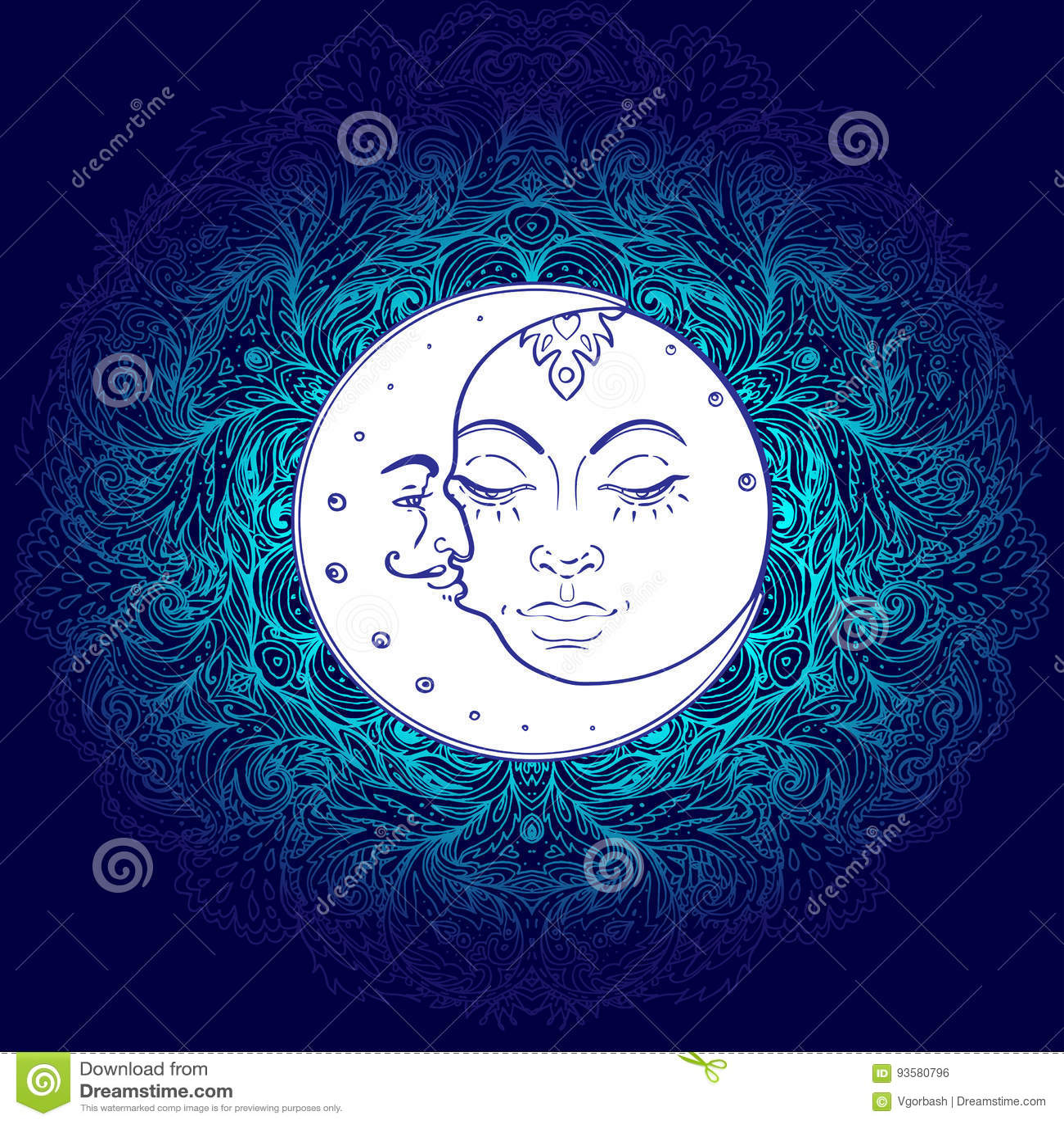 Sun Moon Symbols As A Face Inside Ornate Colorful Mandala