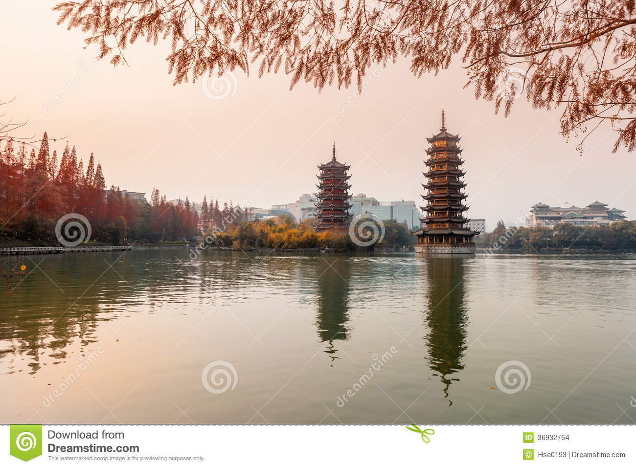 Sun-Moon Towers in sunset,Guilin