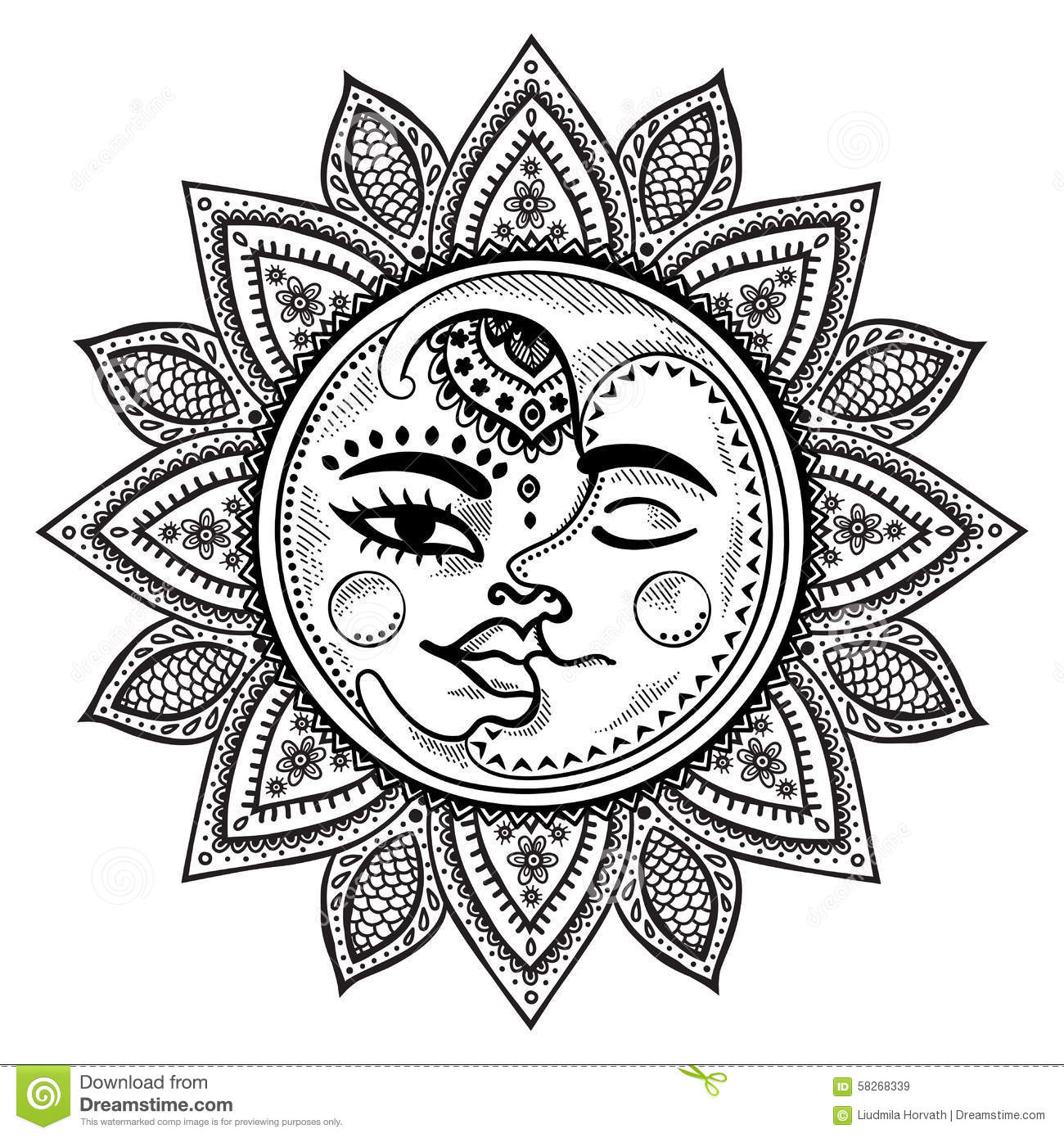 Sun And Moon Vintage Illustration Stock Vector