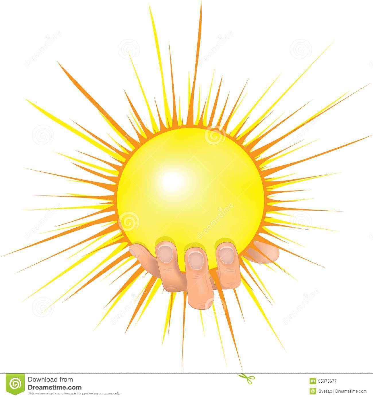 Sun In People Hand Vector Illustration. Royalty Free Stock Photography ...
