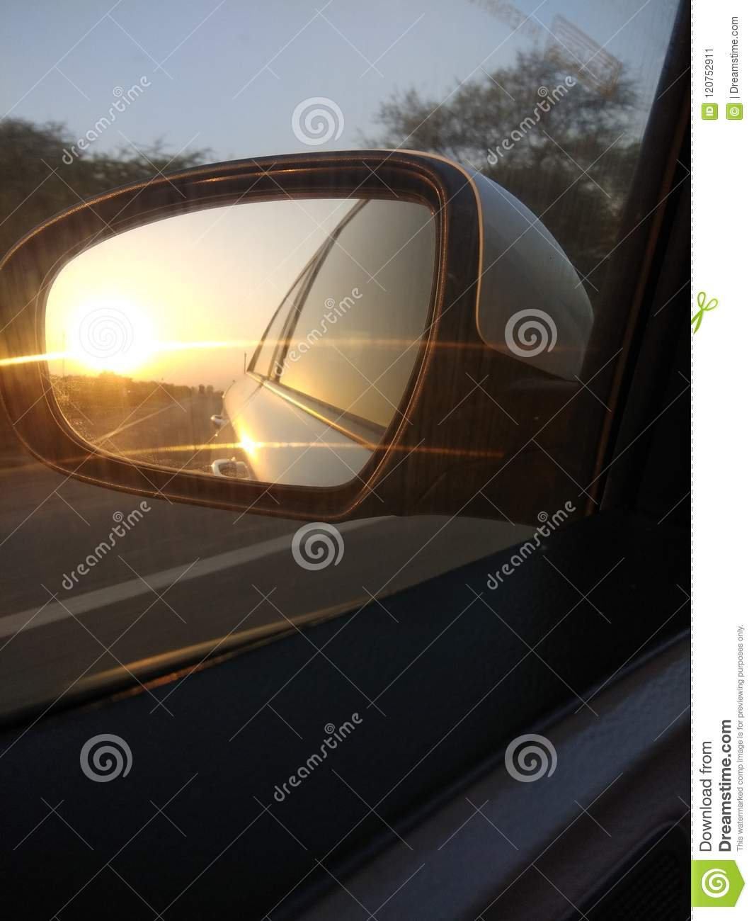 Sun from glass of car