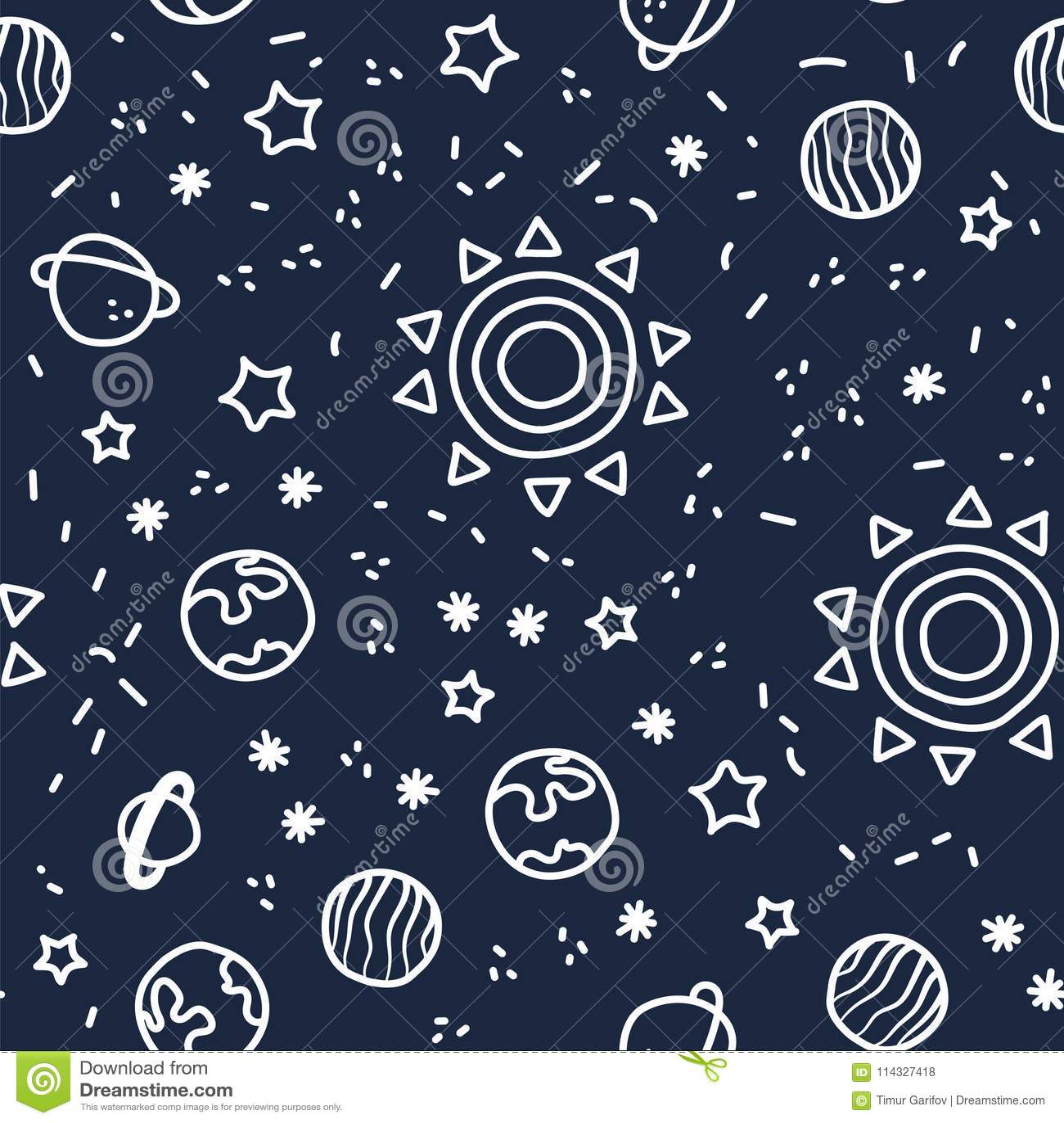 Sun, pianeta Terra e stelle da spazio sul fondo blu scuro del modello Modello senza cuciture del pianeta cosmico