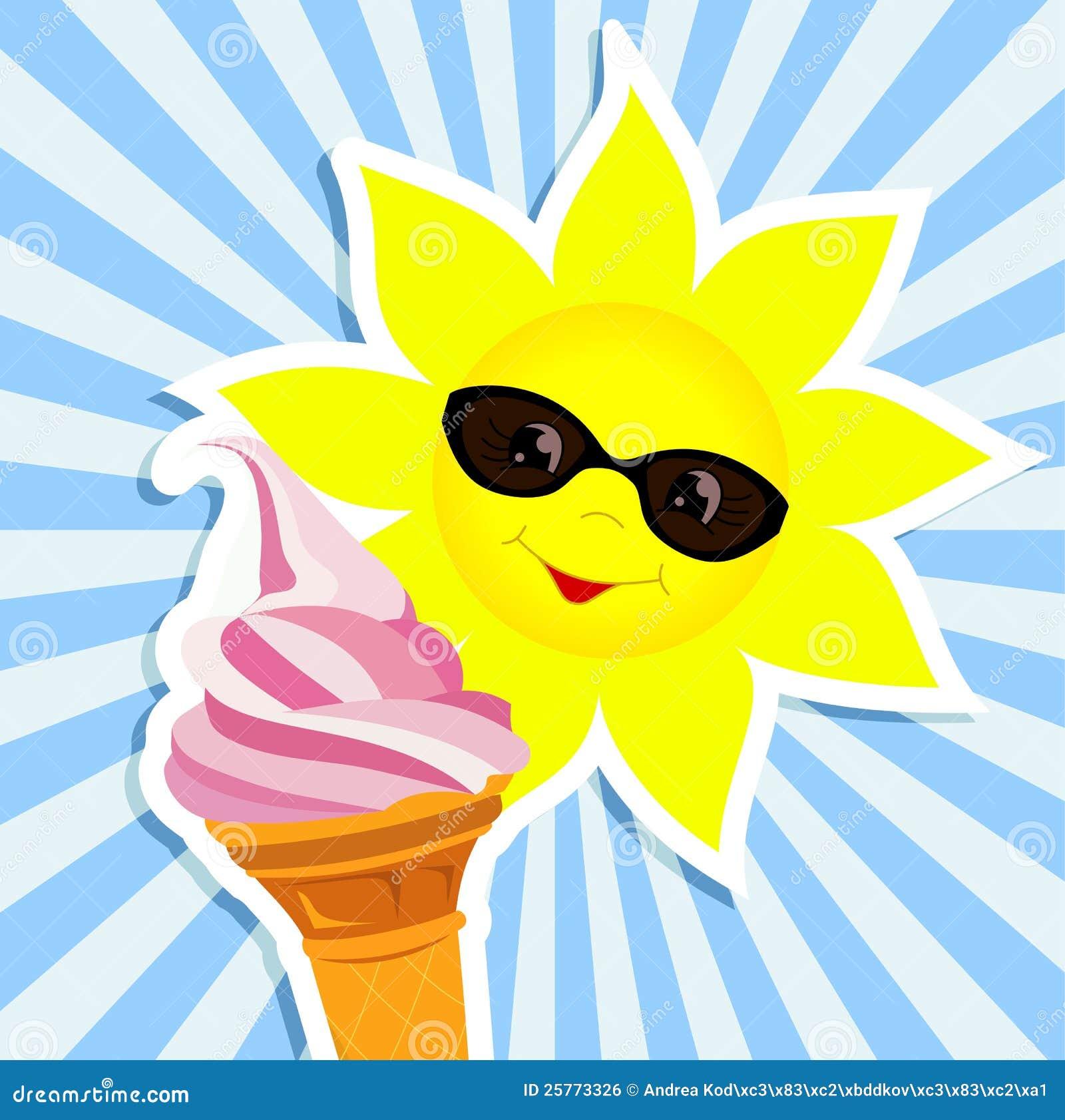 Sun with pink ice cream