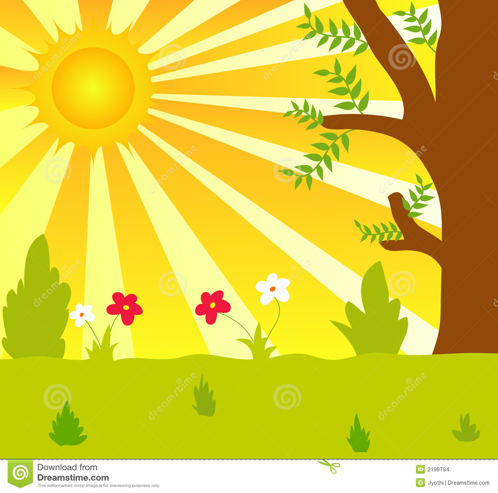 Sun And Plants Stock Illustration Illustration Of Beauty 2199794