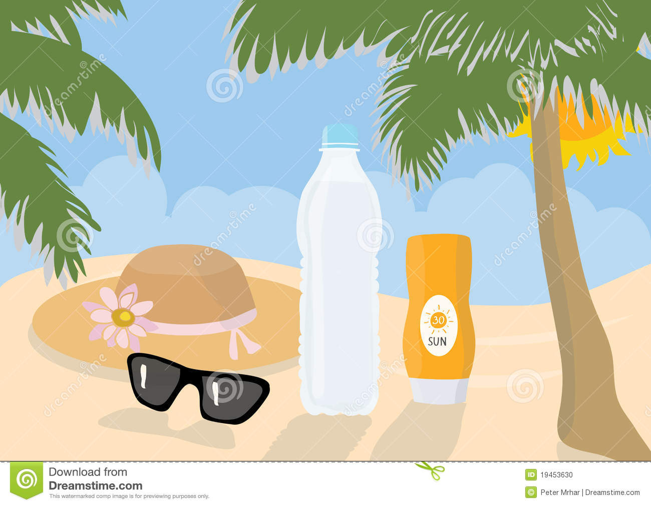 sun protection items on a beach stock illustration image