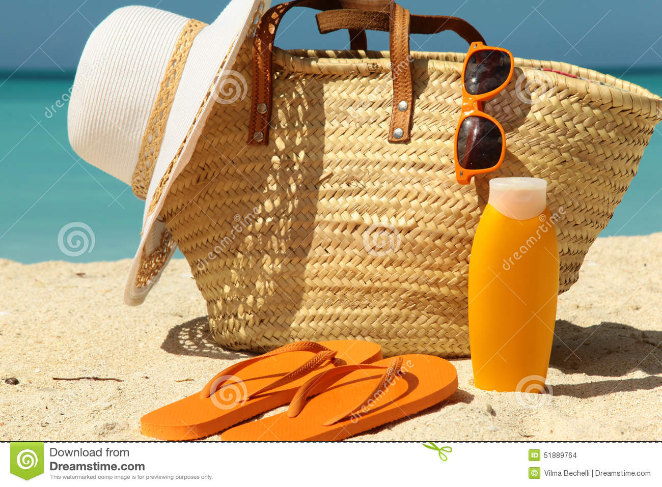 sun protection items stock photo image 51889764