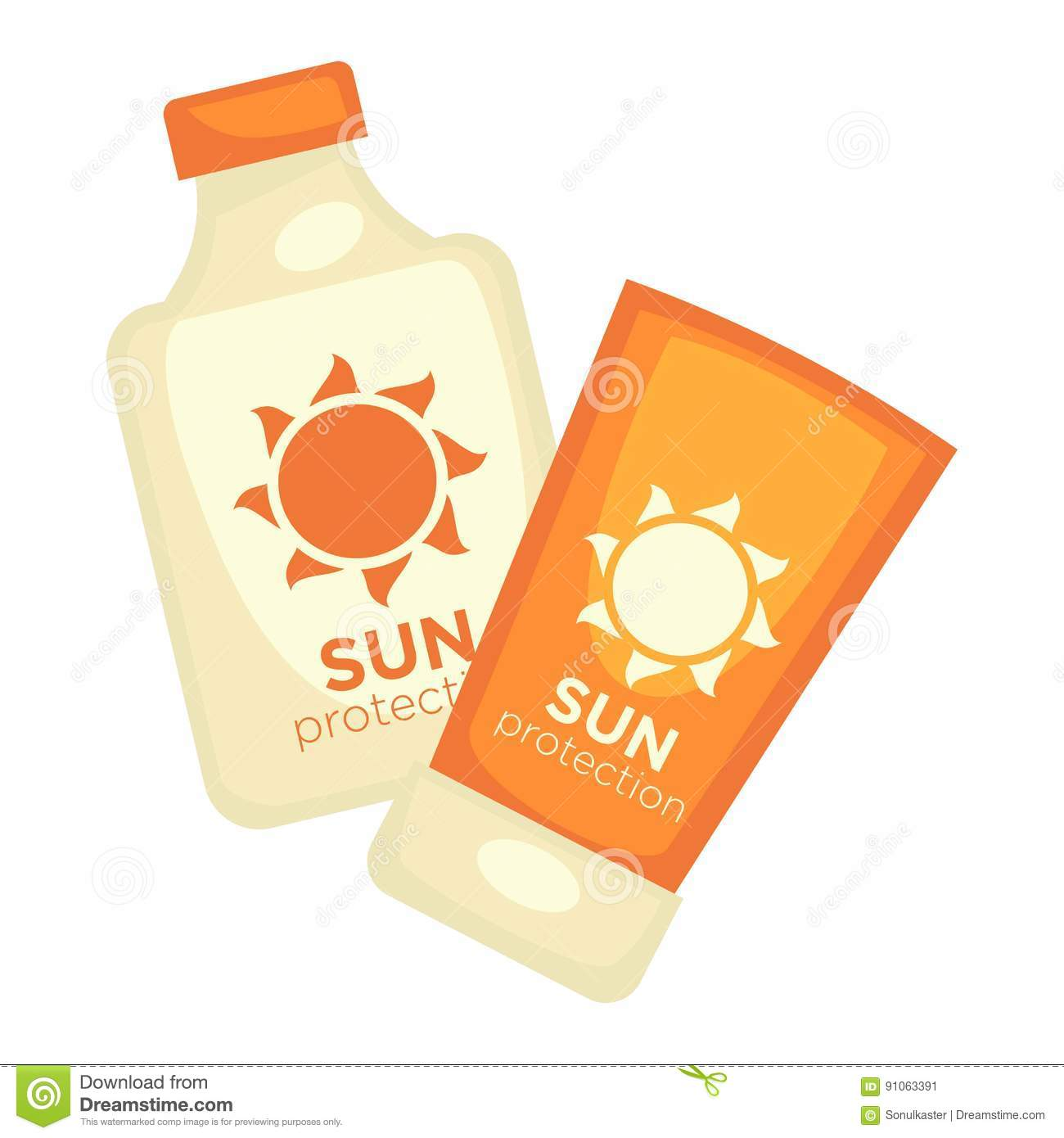 Sun protection lotions set isolated on white. Flasks with moisture
