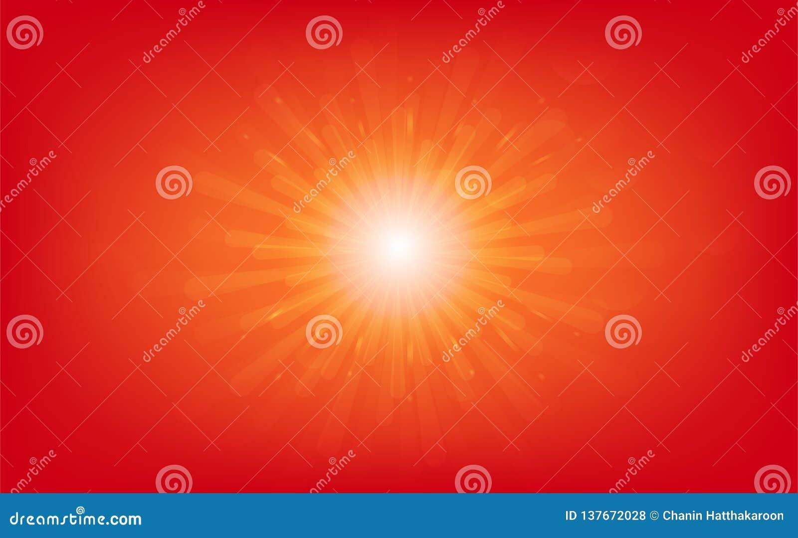Sun que sube, explosión de las estrellas, rayos ligeros efecto brillante, ejemplo abstracto del vector del fondo