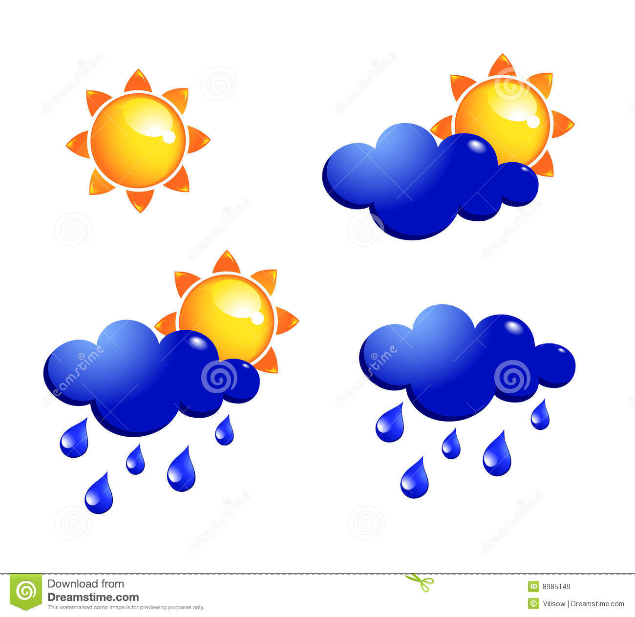 Sun And Rain Icons Royalty Free Stock Images - Image: 8985149