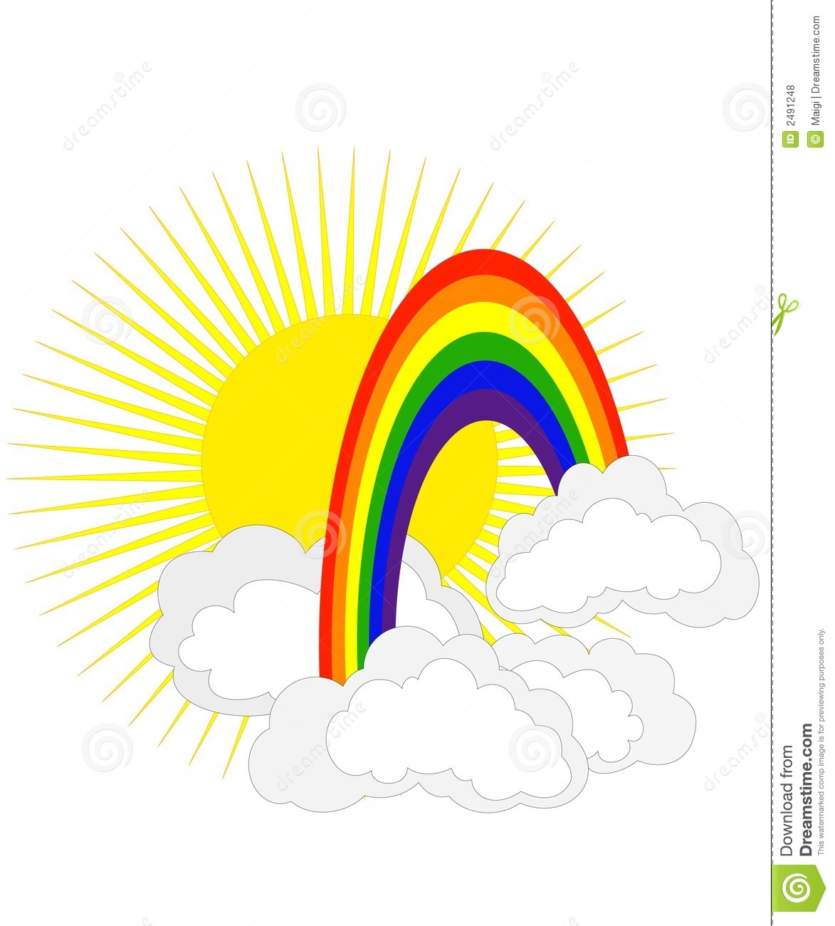 Sun and rainbow stock vector. Image of clouds, clipart ...