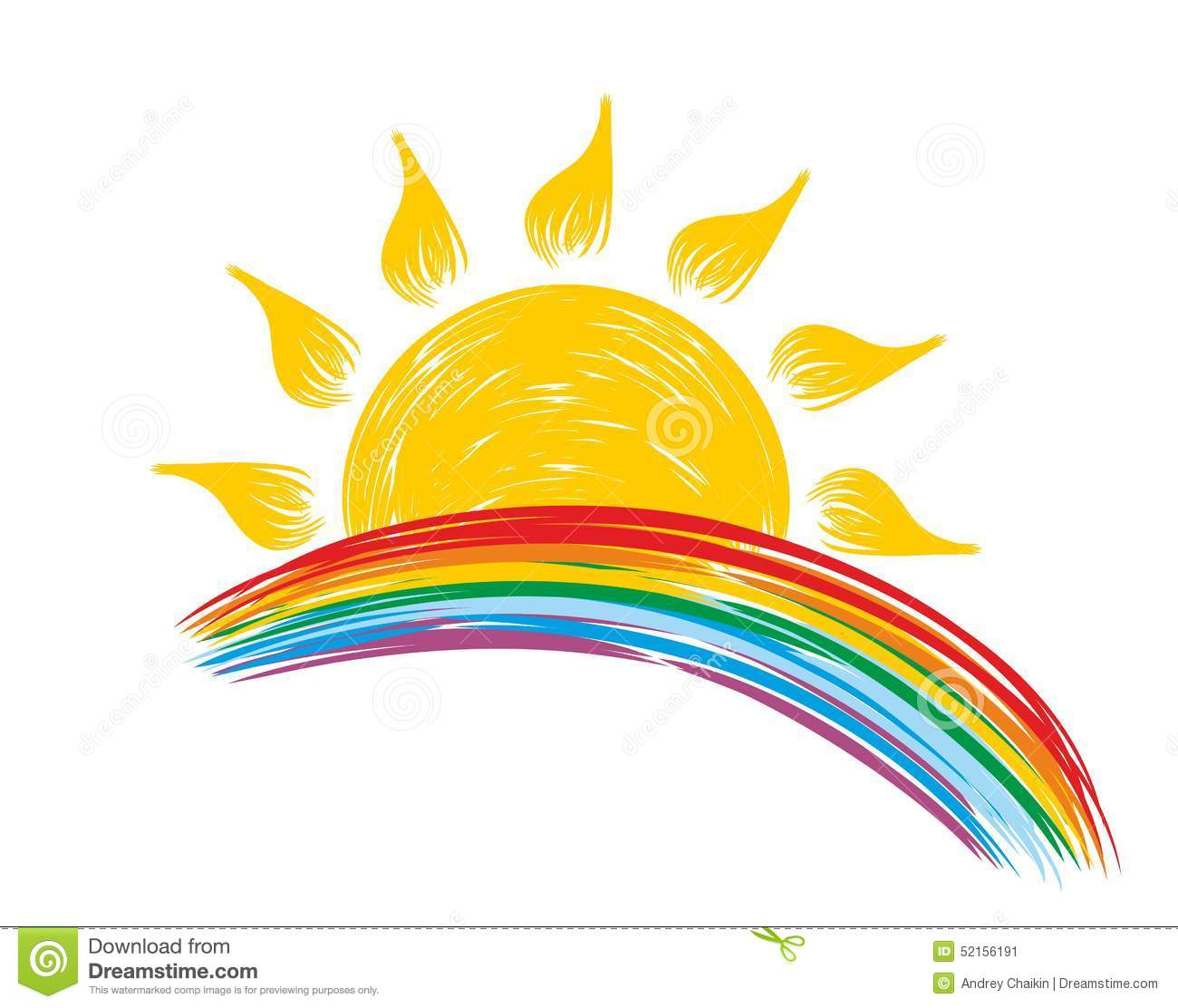 Sun And Rainbow Stock Vector - Image: 52156191