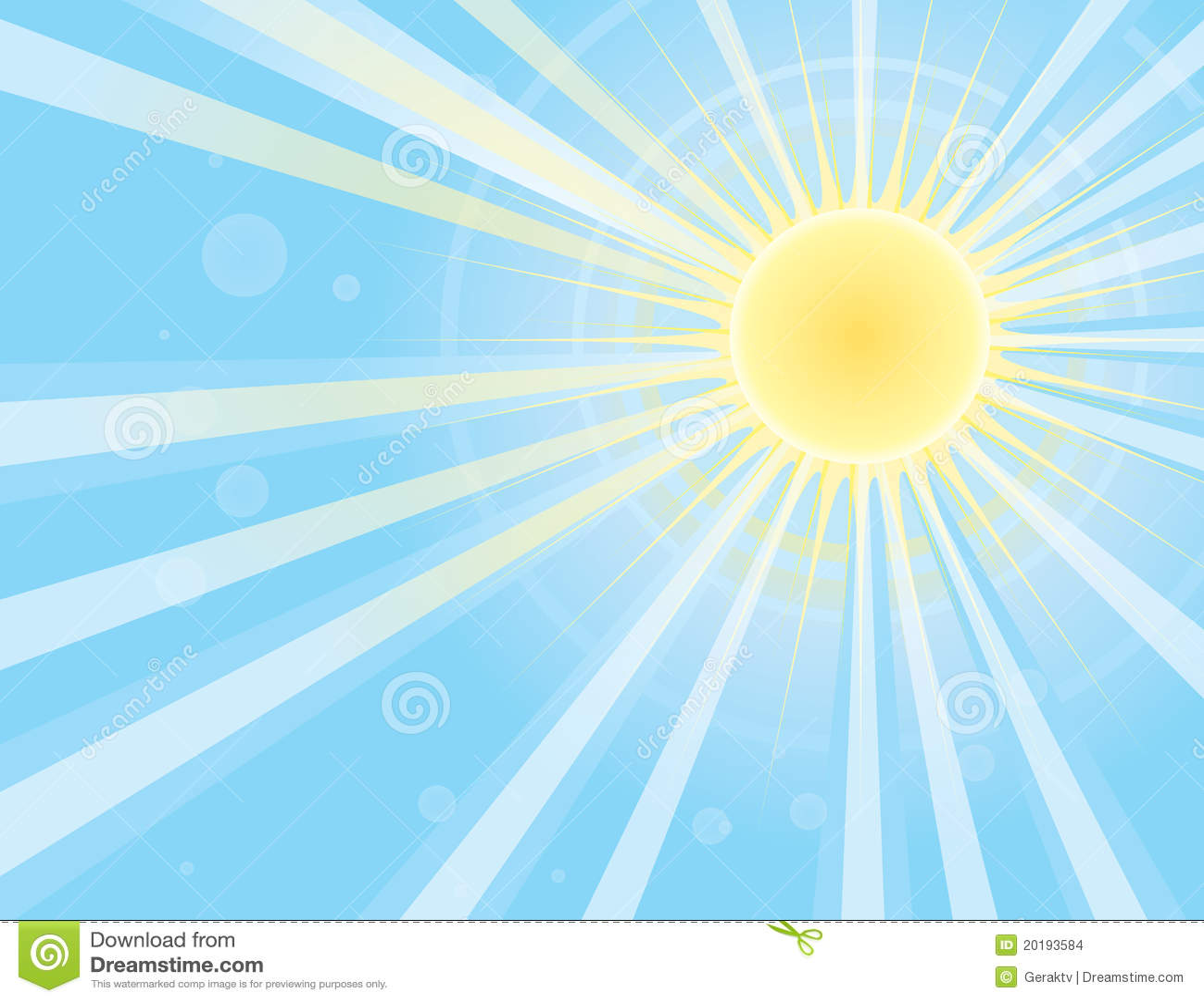 Sun rays in blue sky.Vector image