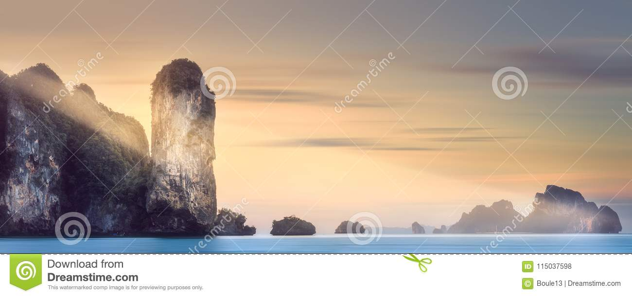 Download Sun Rays Over Tropical Island And Sea, Thailand Stock Photo - Image of mystic, morning: 115037598