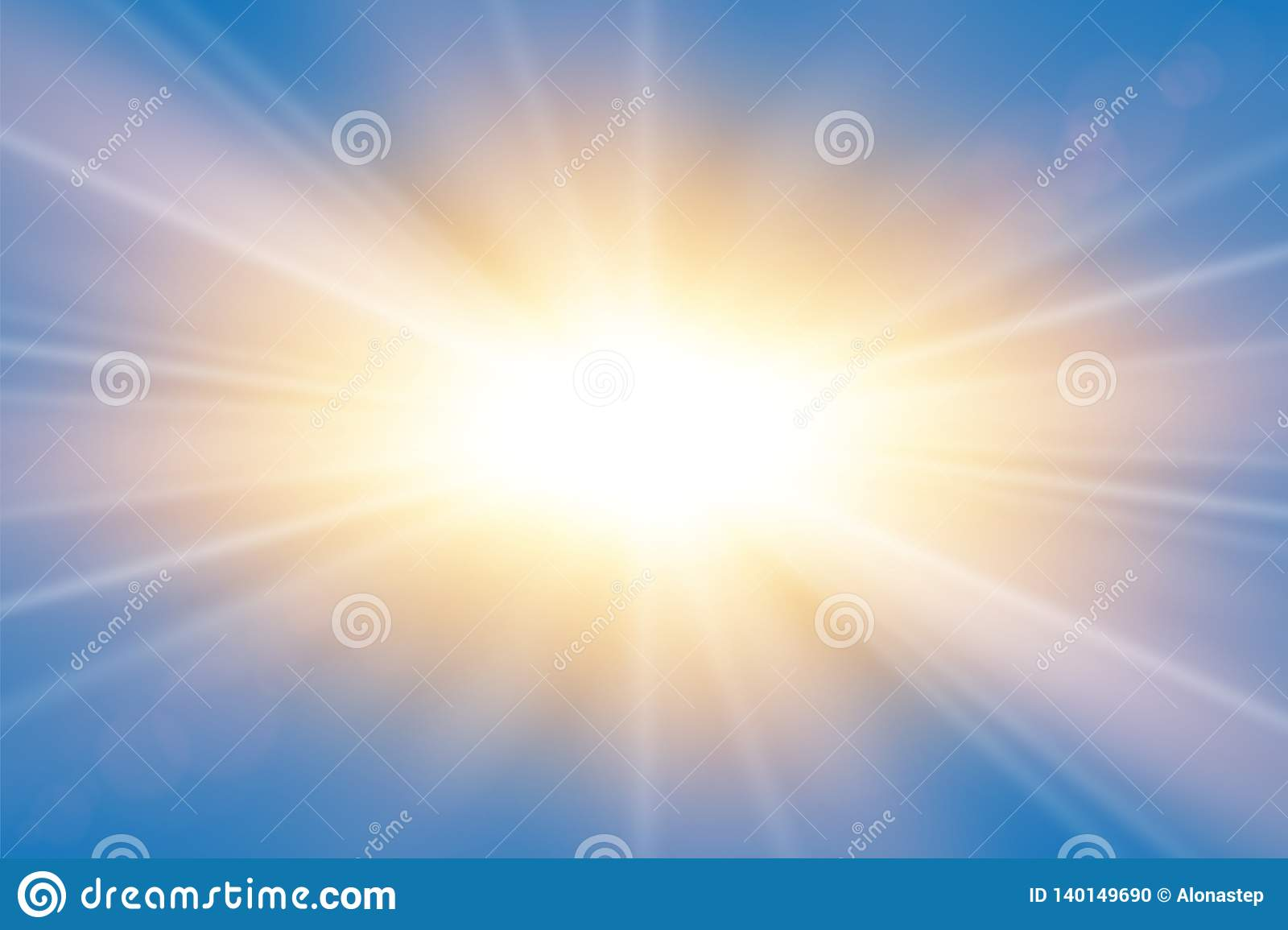 Sun rays. Starburst bright effect, isolated on blue background. Gold light star flash. Abstract shine beams. Vibrant