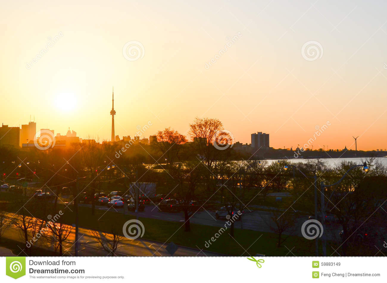 Sun rise and the CN Tower in Toronto