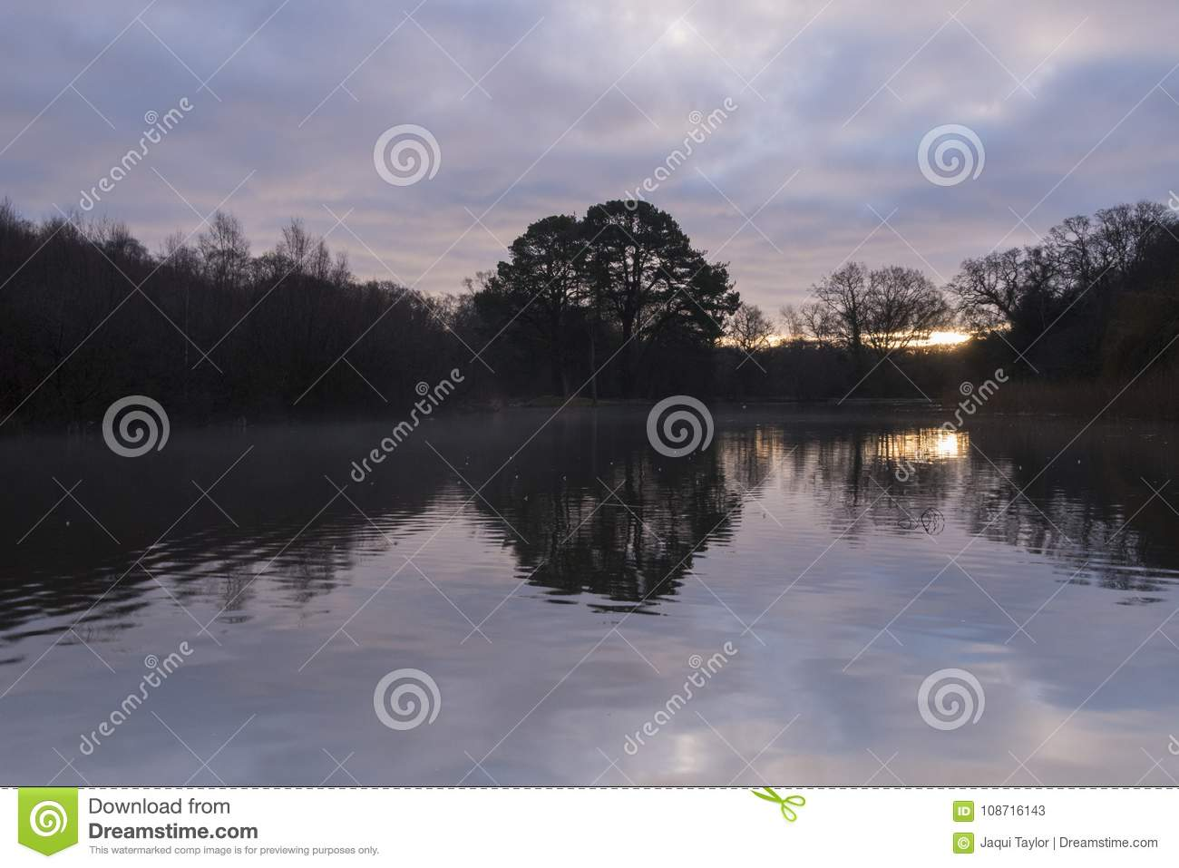 Sunrise on a cloudy morning at the Ornamental Pond, Southampton Common