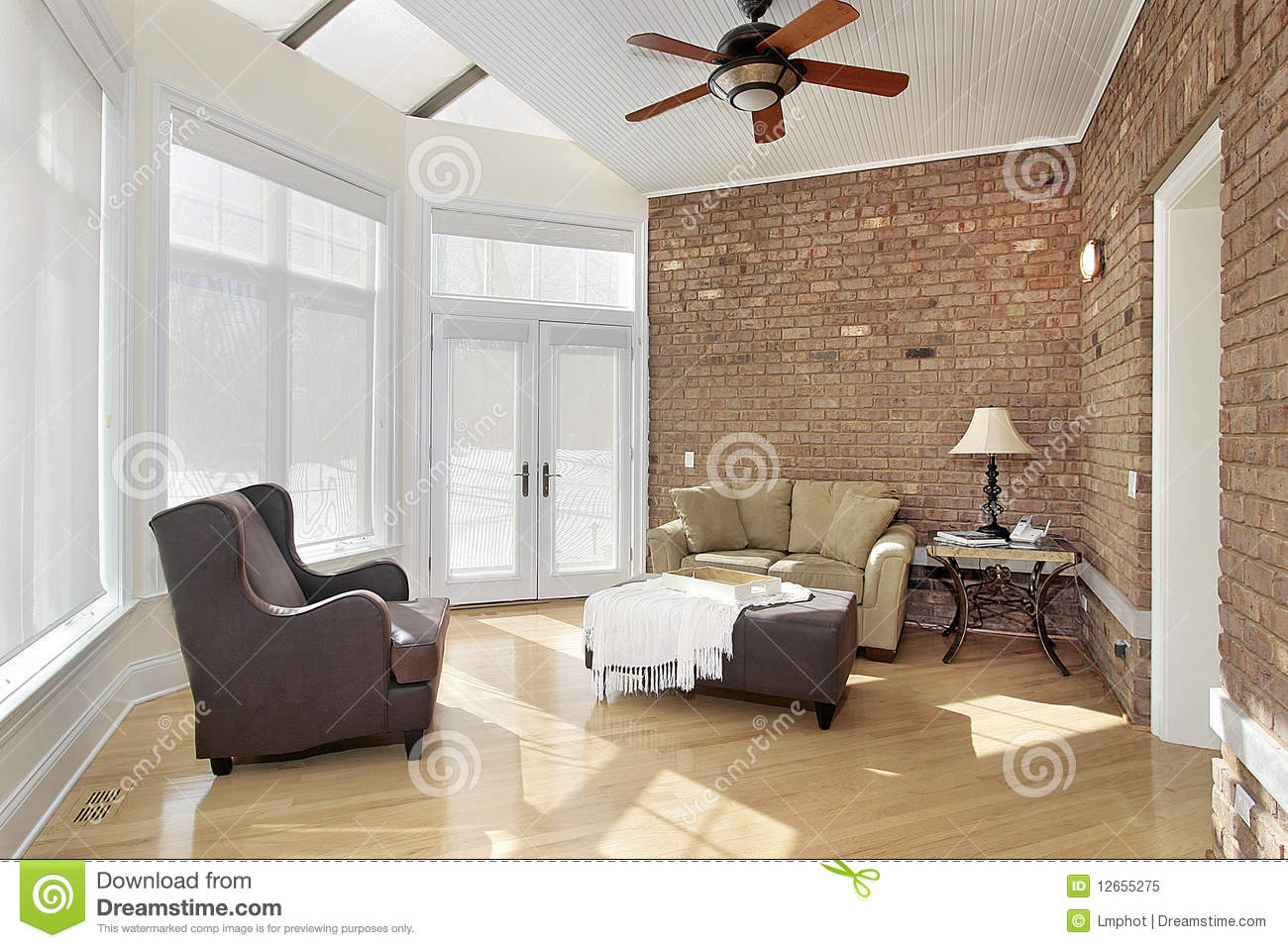Sun Room With Brick Wall Stock Image Image Of Carpet